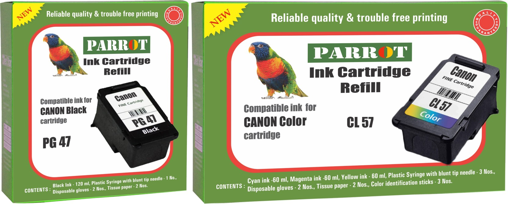 Parrot Ink Cartridge Refill For Canon Pg 47 Black And Cl 57 Original On Offer