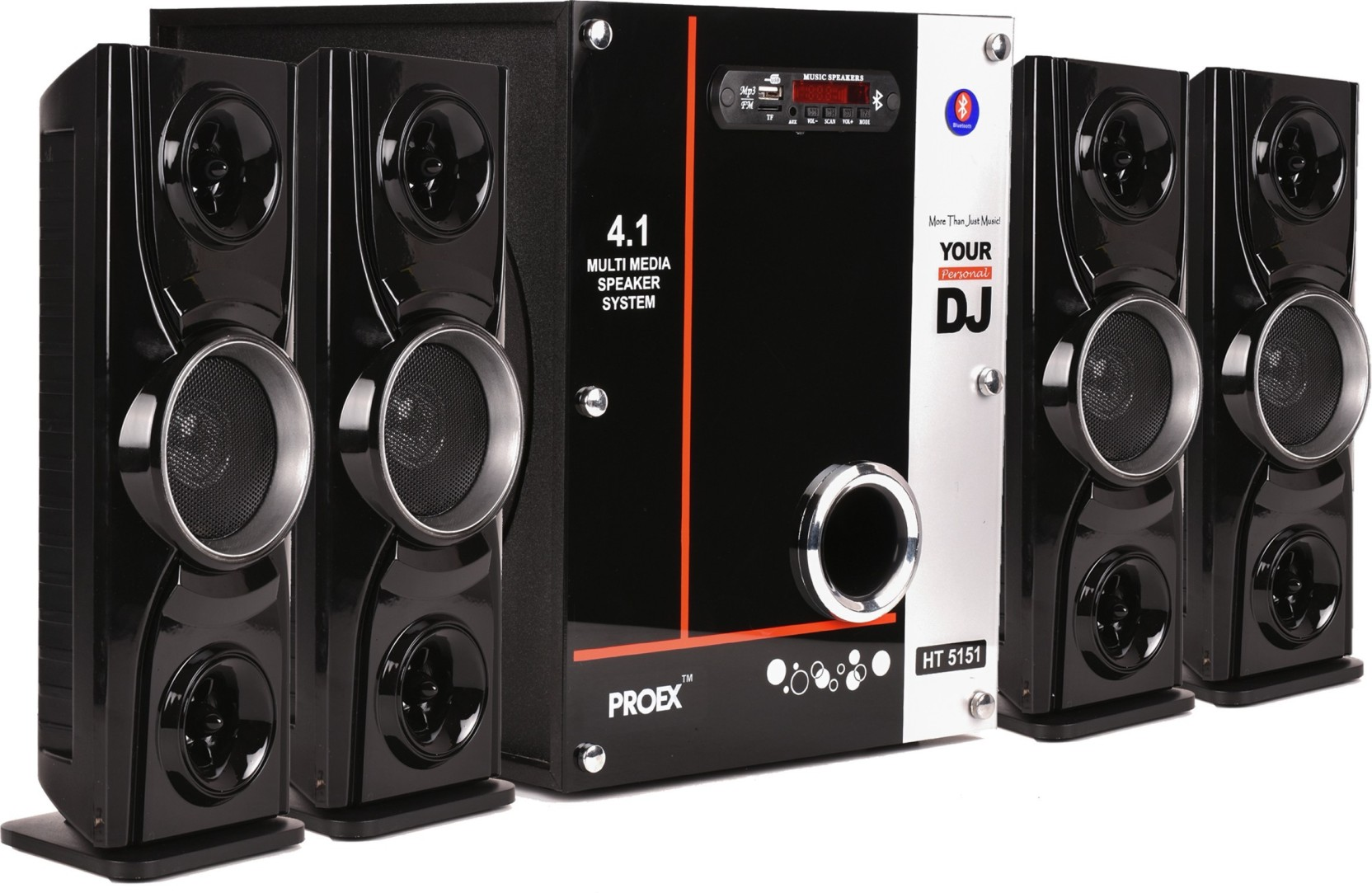 951c72803fd PROEX HT-5151 Multimedia Computer Speakers Home Theater with  Bluetooth/AUX/USB/SD Card Support and Remote Control (Black) 4.1 Tower  Speaker (USB, AUX, ...