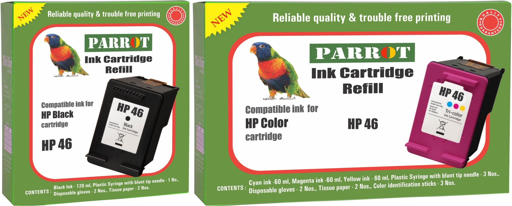 Parrot ink cartridge refill for HP 46 black and HP 46 color Combo pack Multi Color. ADD TO CART