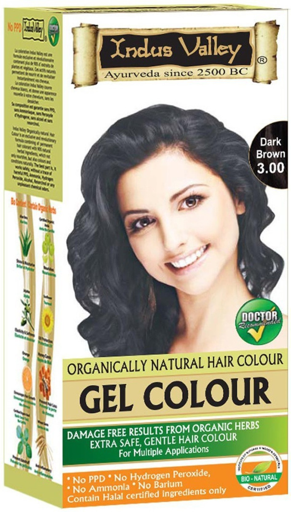 Indus Valley Organically Natural Gel Dark Brown 300 Permanent Hair