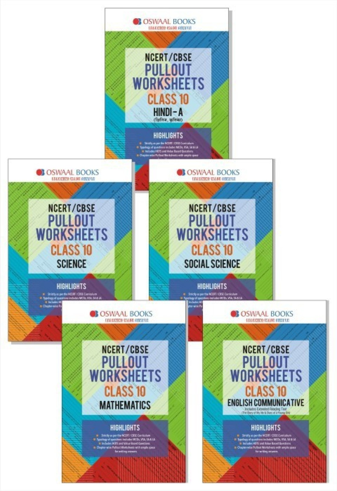 Oswaal NCERT/CBSE Pullout Worksheets Class 10 (Set of 5 Books) Hindi ...
