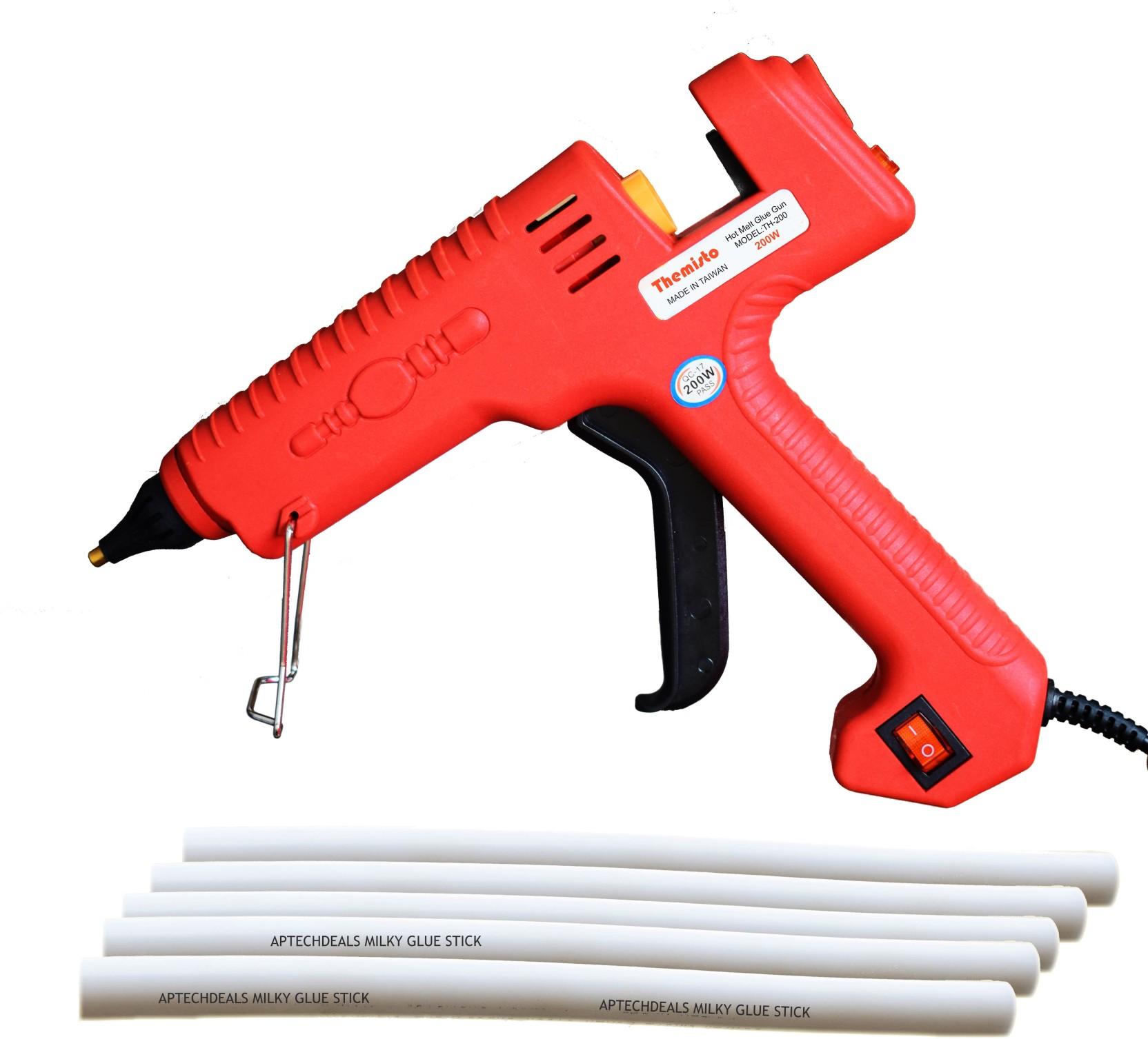 Themisto 200 W Industrial Glue Gun with 5 High Bonding Milky Glue
