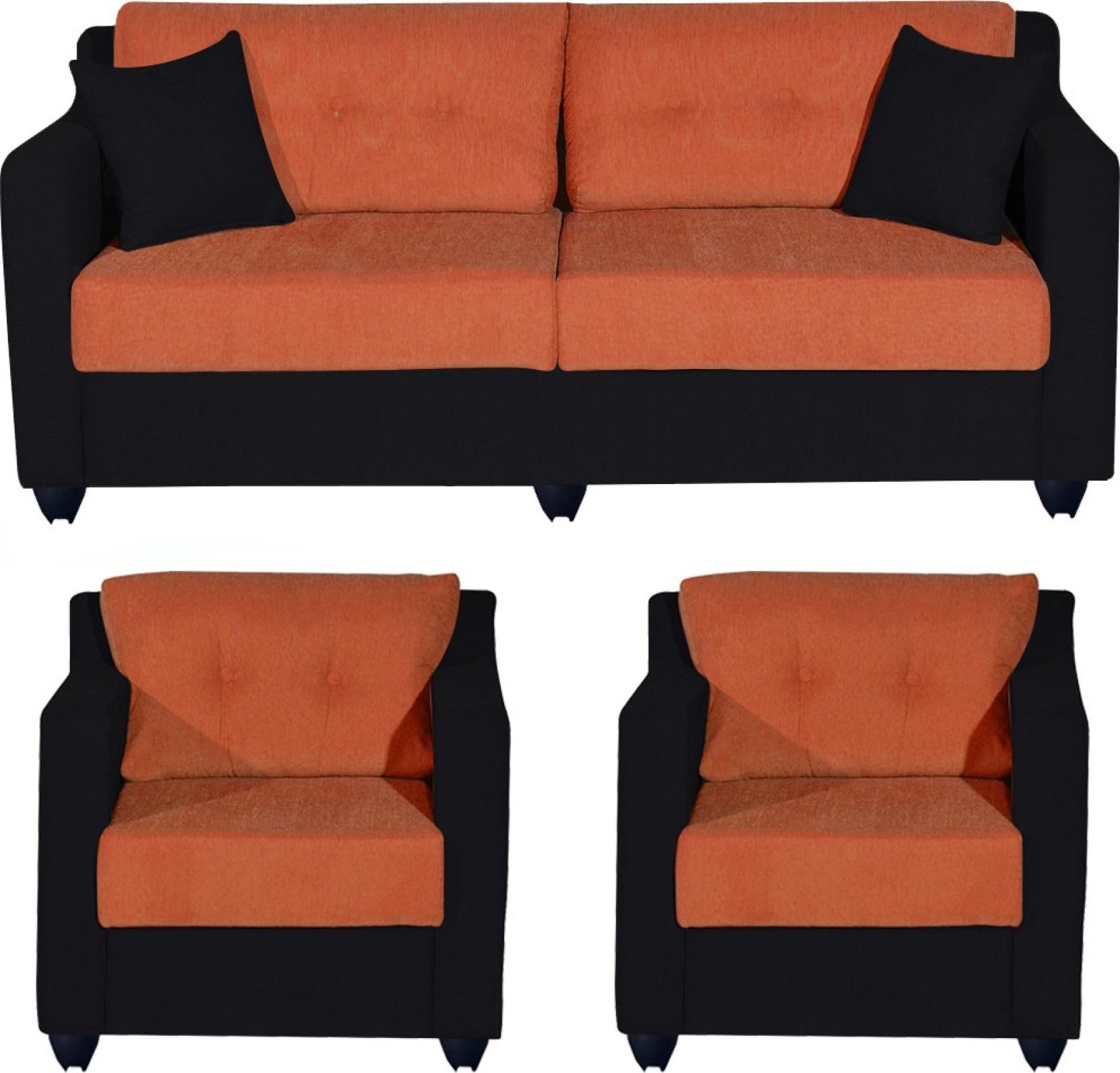 Bharat Lifestyle Lisbon Fabric 3 1 1 Orange Black Sofa Set Price