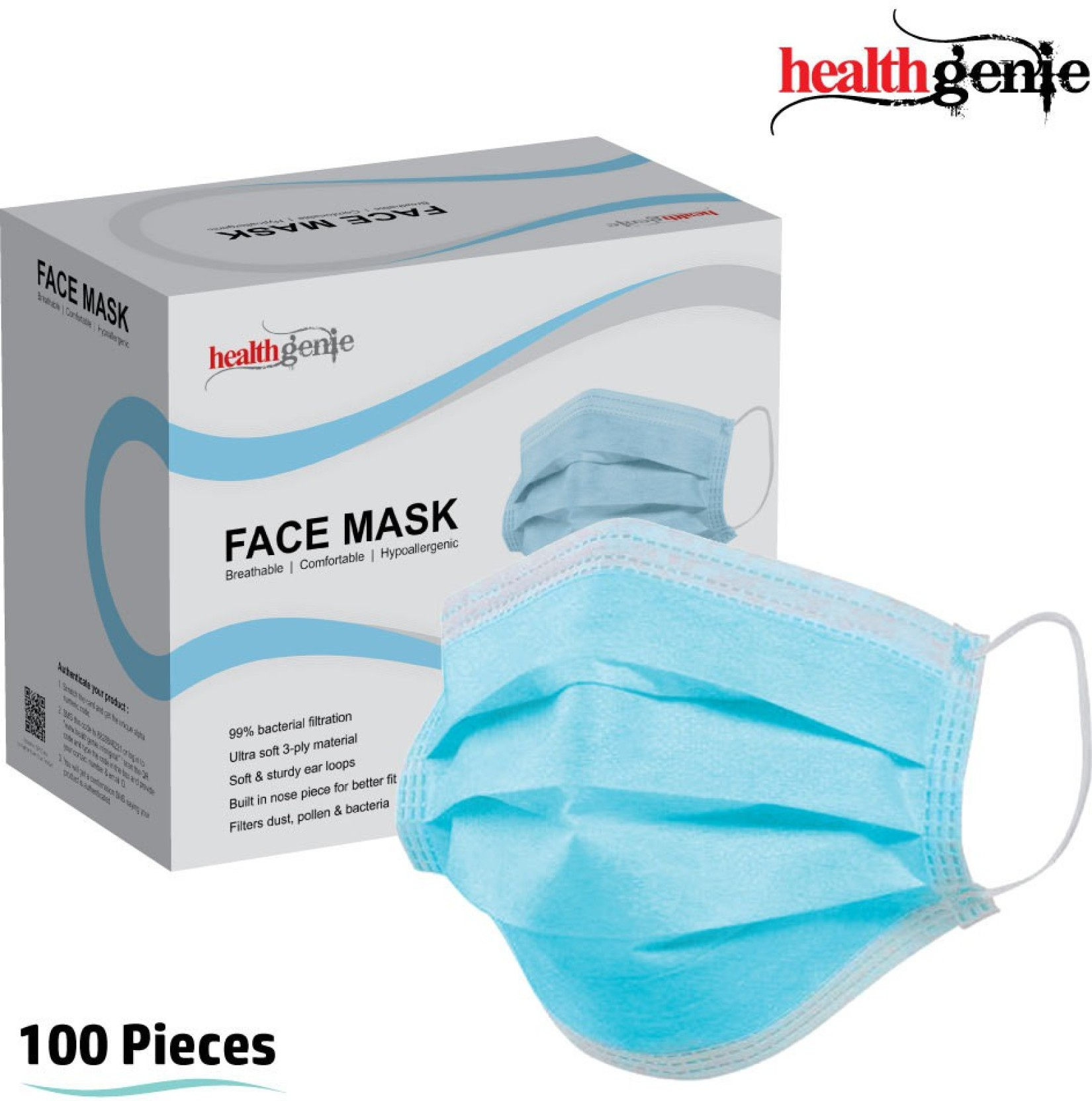 Disposable Elastic Anti-pollution Mask 3-ply Healthgenie Face