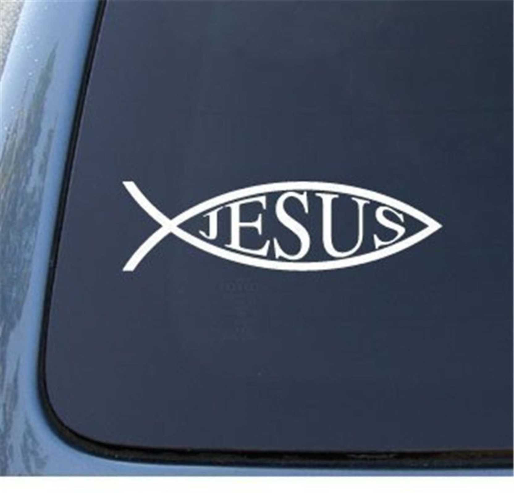 Gadgets wrap medium gadgets wrap jesus fish car window vinyl decal sticker 5 5 color white notebook die cut sticker sticker pack of 1