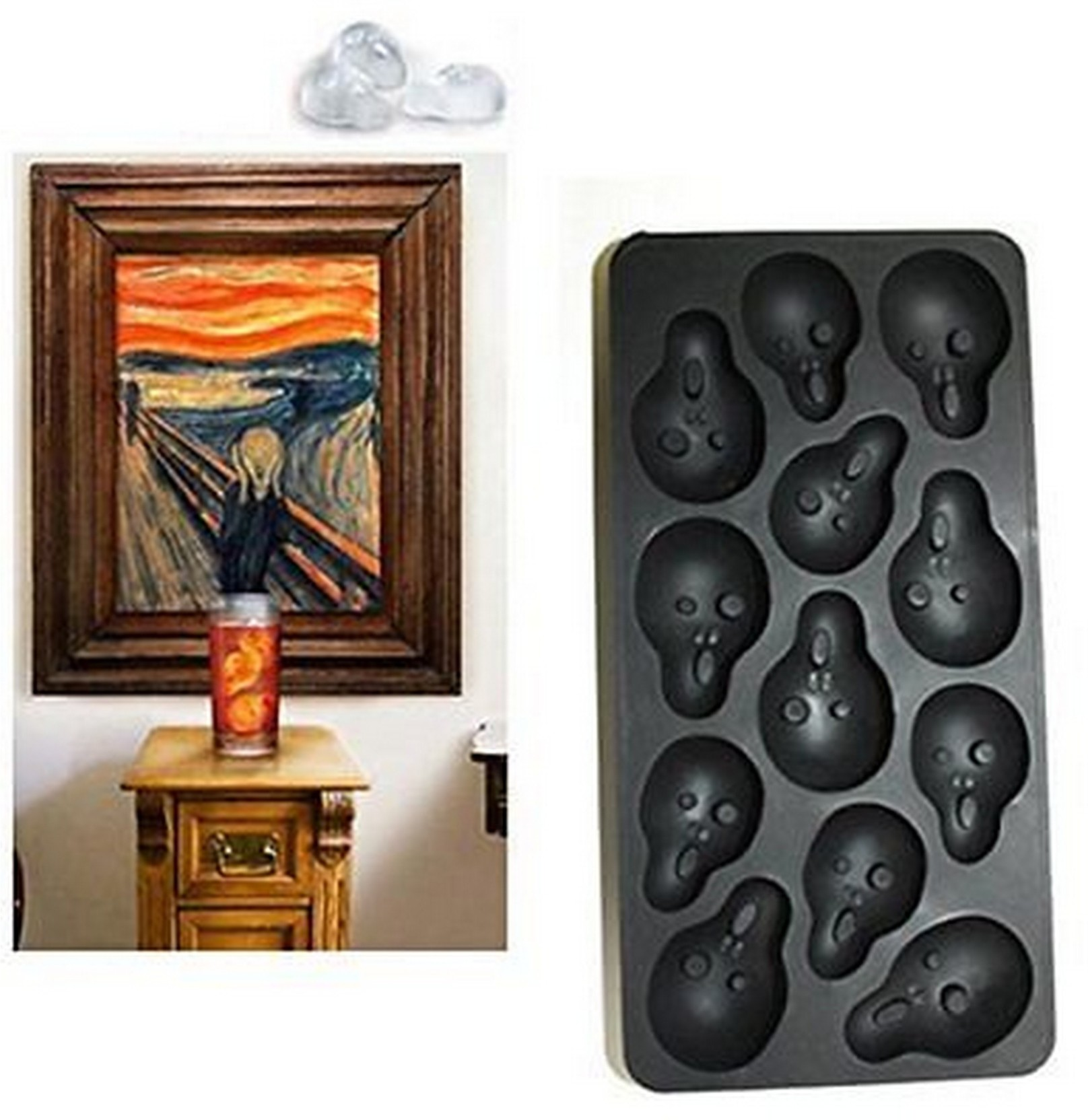 ls letsshop ice cube tray - funny halloween silicone scream face ice