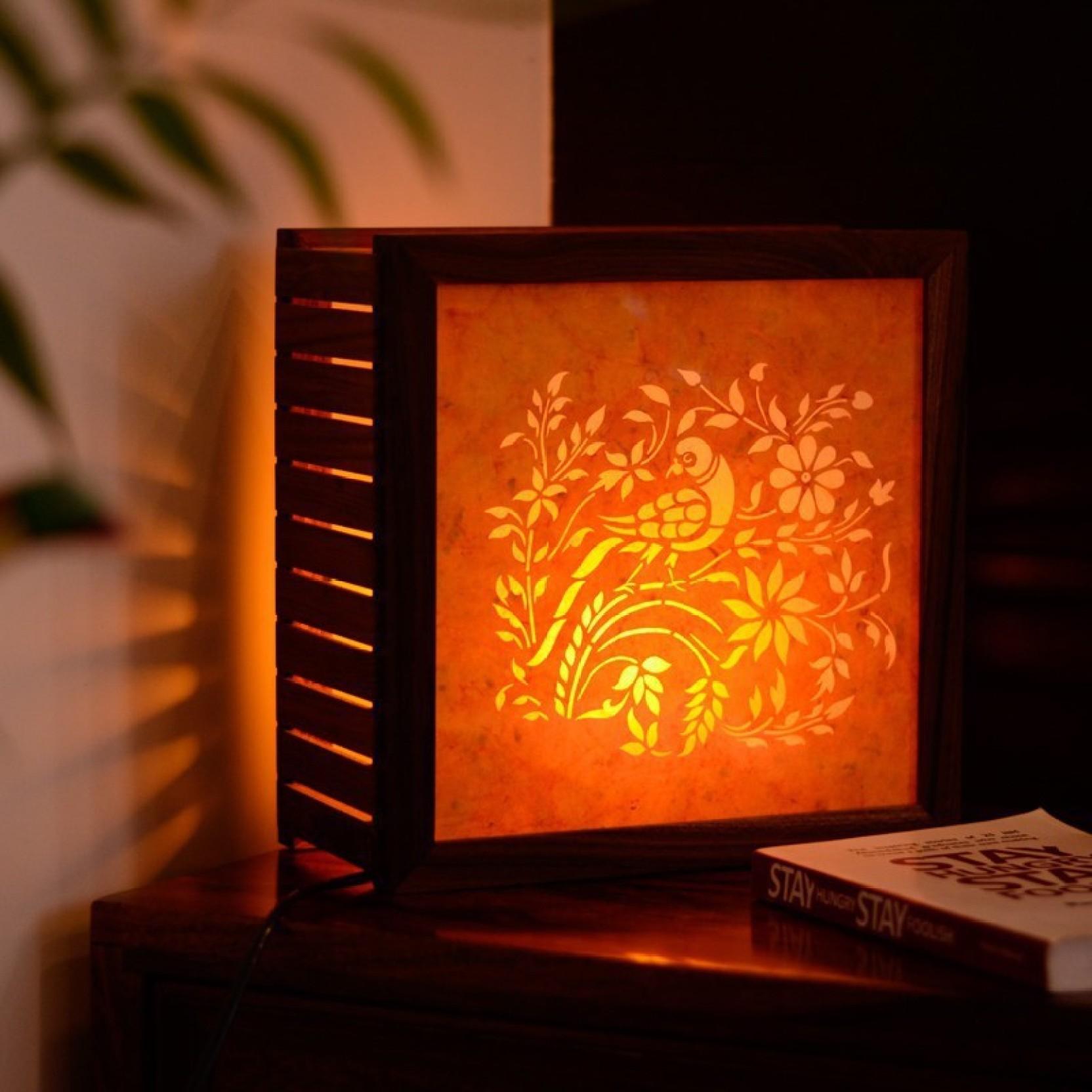 Exclusivelane Sanjhi Work Teak Wood Table Lamp Price In India Buy