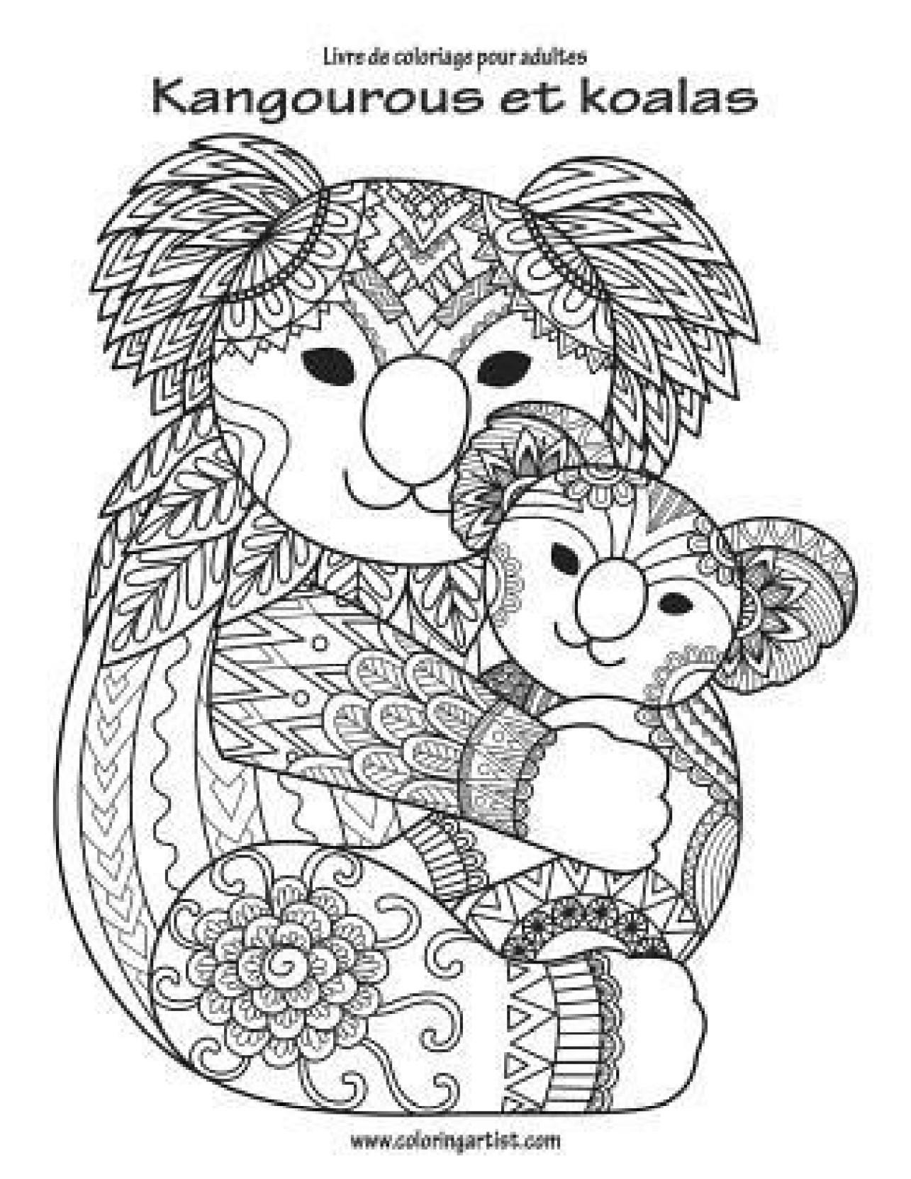 Livre De Coloriage Pour Adultes Kangourous Et Koalas 1 Buy Livre