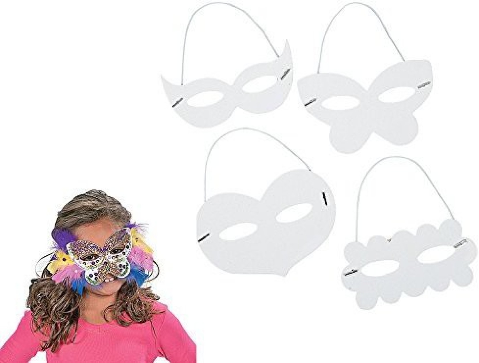 16 Assorted White Card Masks for Kids CraftsMasks to Decorate