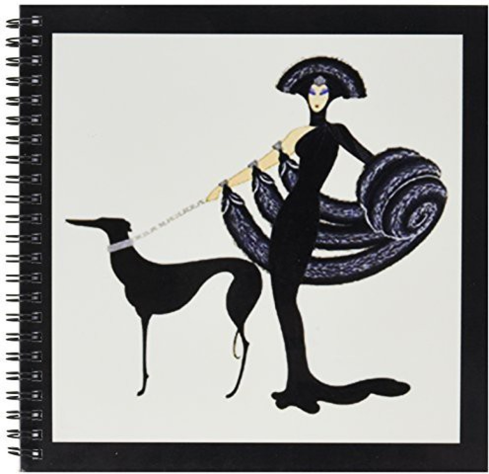 3drose Db 43794 1 Art Deco Lady With Dog Drawing Book 8 By