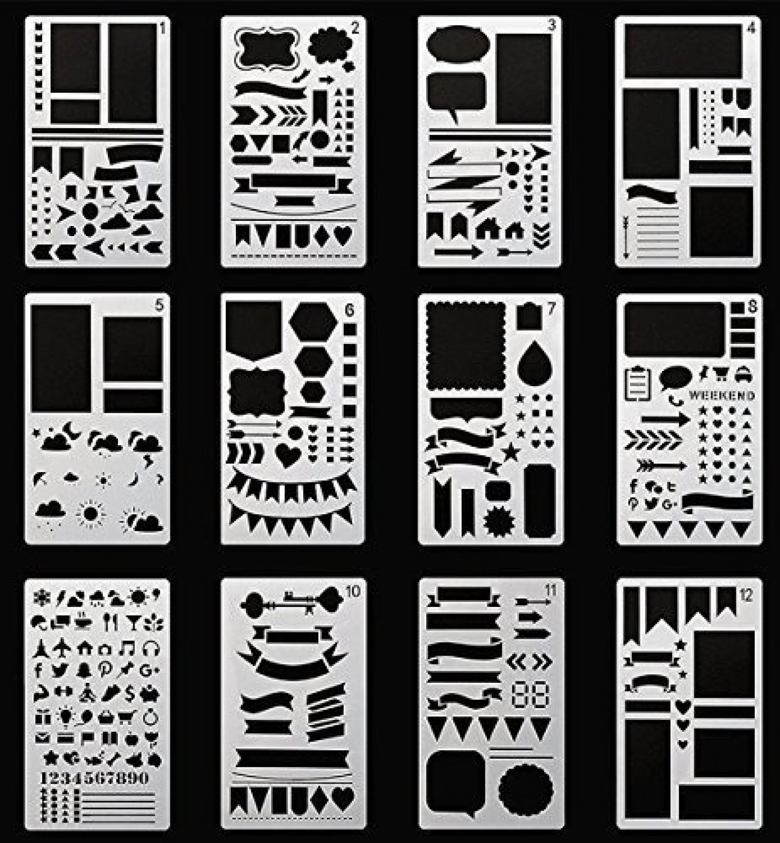 20 X Bullet Journal Stencil Plastic Planner Stencil Notebook Diary Scrapbook DIY
