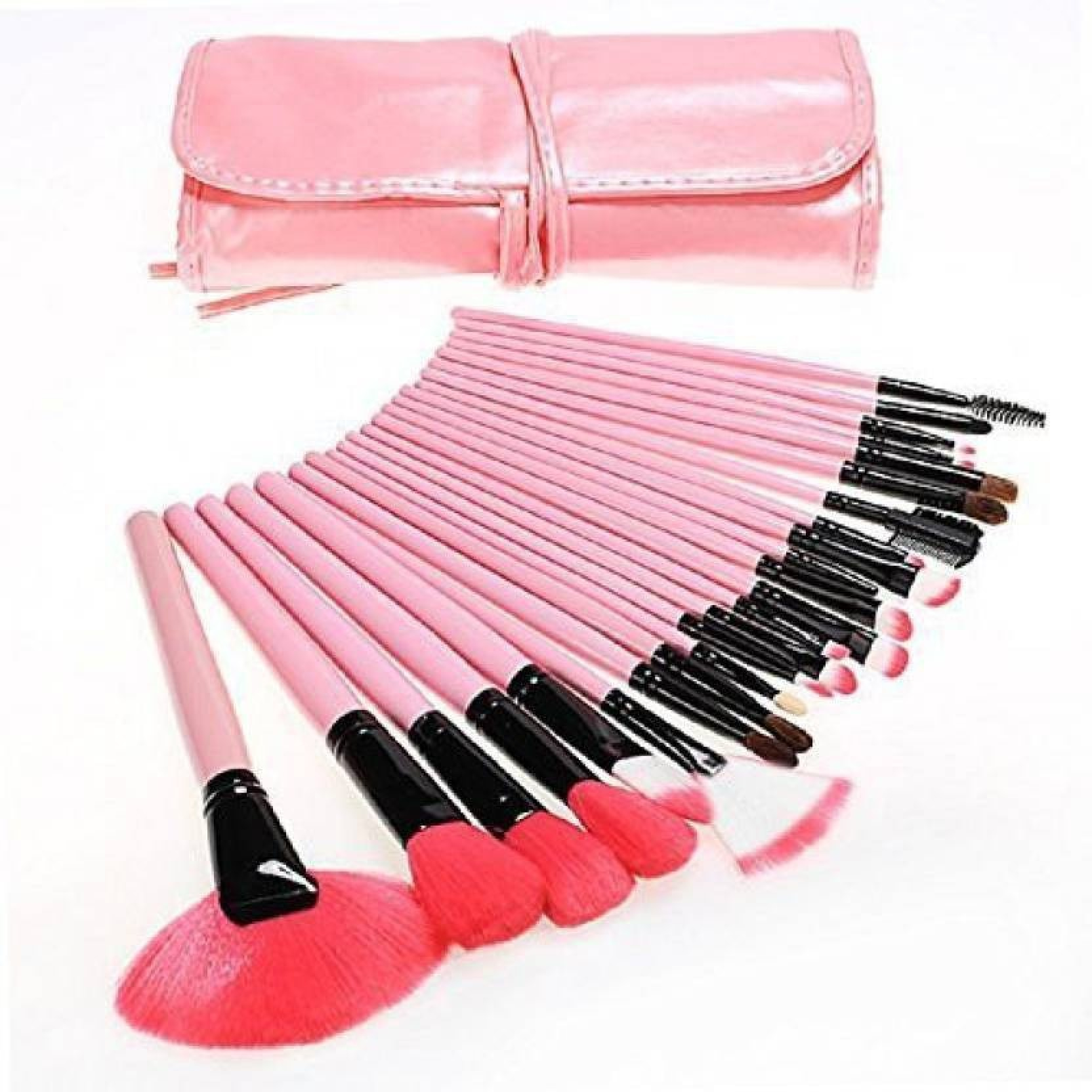 Skinplus 24 Pcs Professional Makeup Brushes Set Natural Cosmetic 36 Facial Wood Make Up Brush Tools Kit With Black Leather Case Pouch Share