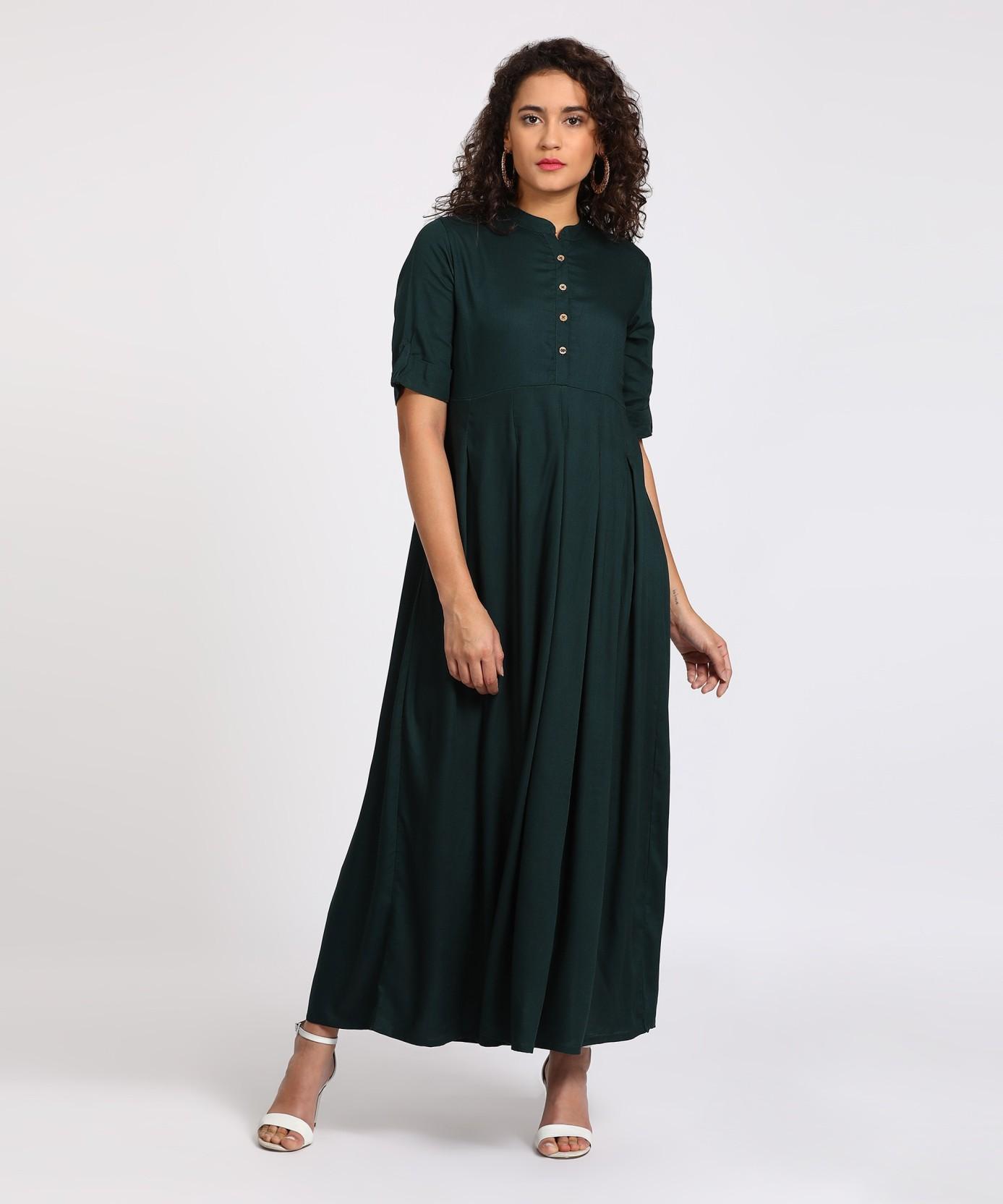 17f6b075aff Vishudh Women s Solid Gown Kurta - Buy TEAL. Vishudh Women s Solid ...