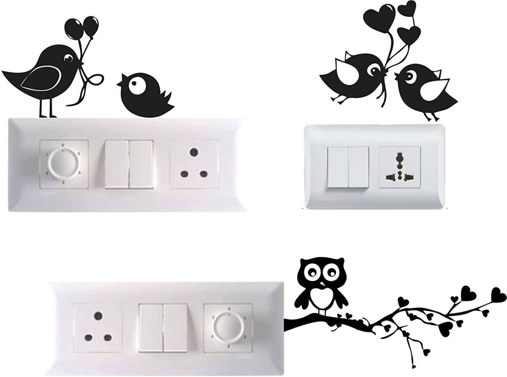 Pixel Print Small Beautiful Birds Pvc Vinyl Set Of 3 Wall Stickers For Light Switch Socket Board Sticker