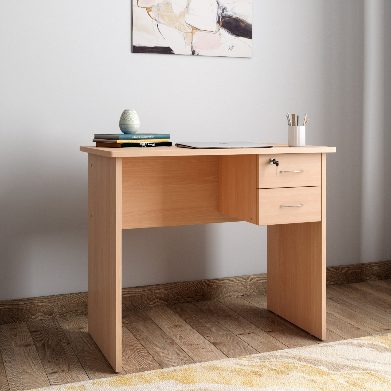 Hometown simply engineered wood study table free standing finish color honey
