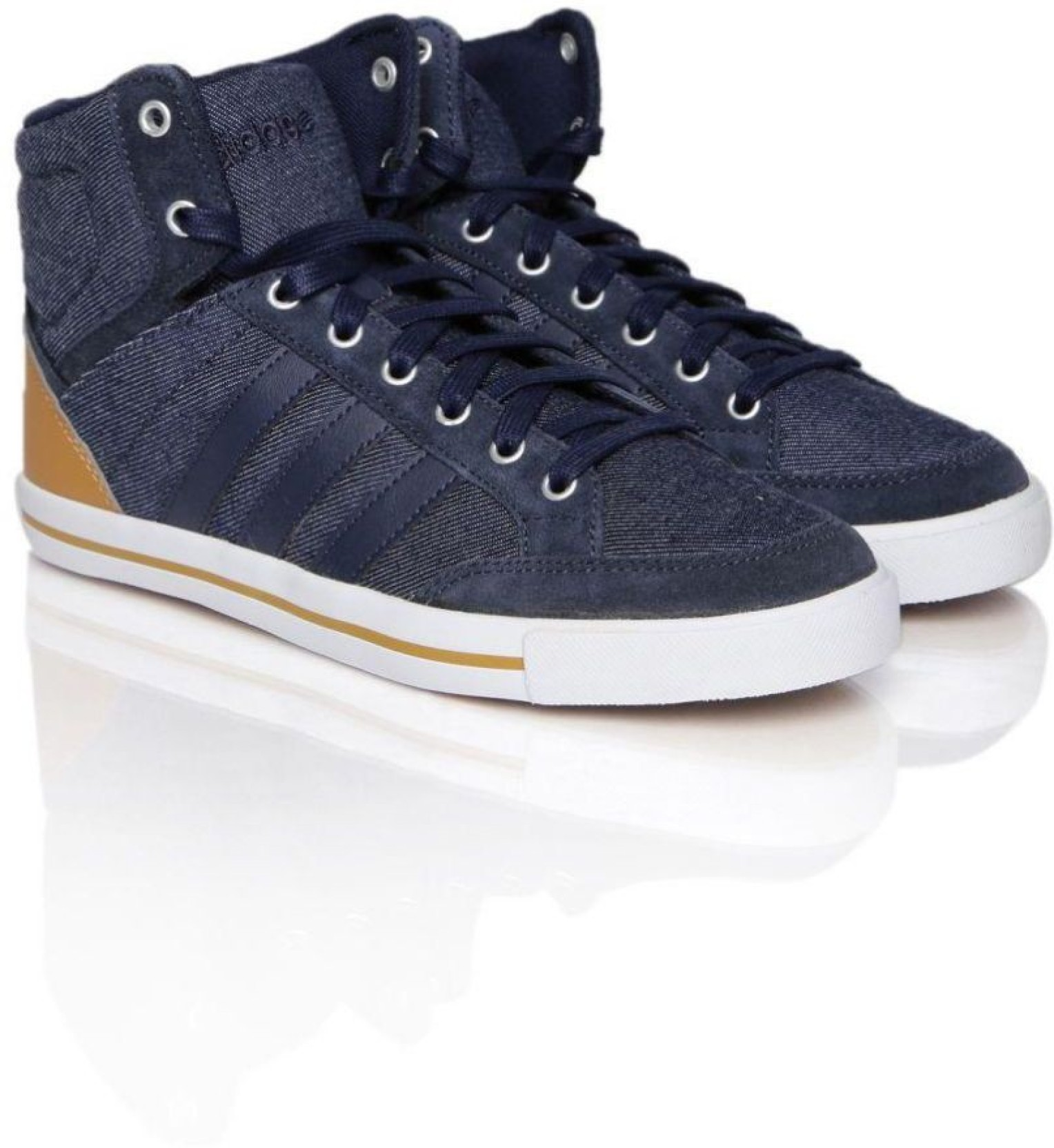 size 40 d7aa9 f596e ADIDAS adidas neo Men s Cacity Mid Leather Sneakers High Tops For Men (Blue)