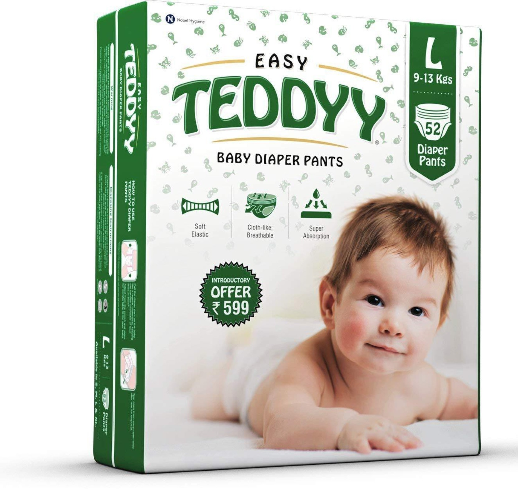 Teddyy Tbdpel52 L Buy 52 Pant Diapers For Babies Weighing Pampers Premium Care New Born Tape Home Baby