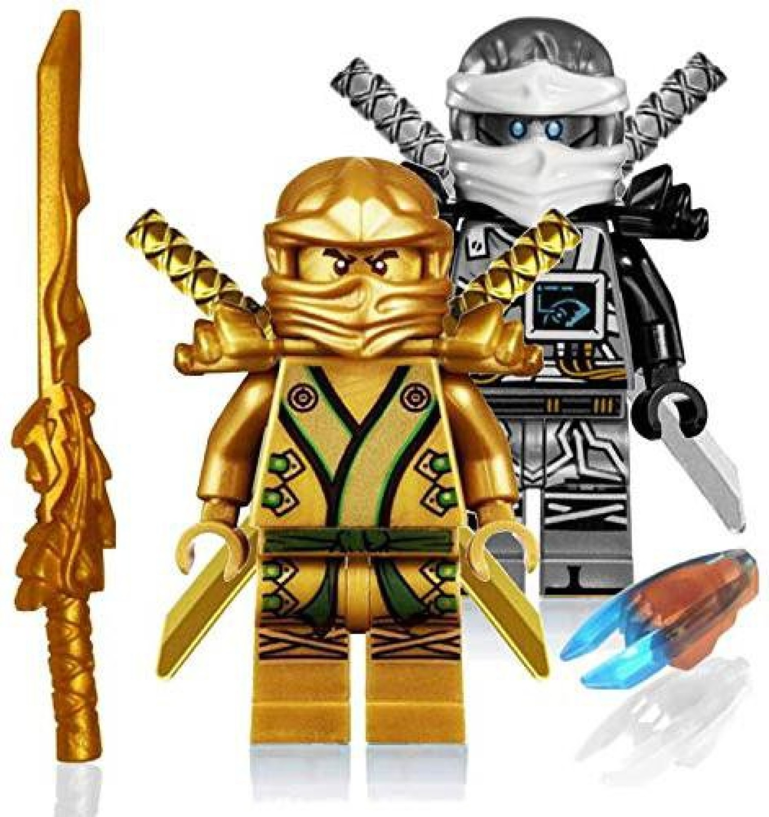 Lego Ninjago Original Blue Jay Minifigure With Gold Dragon Sword Weapon New