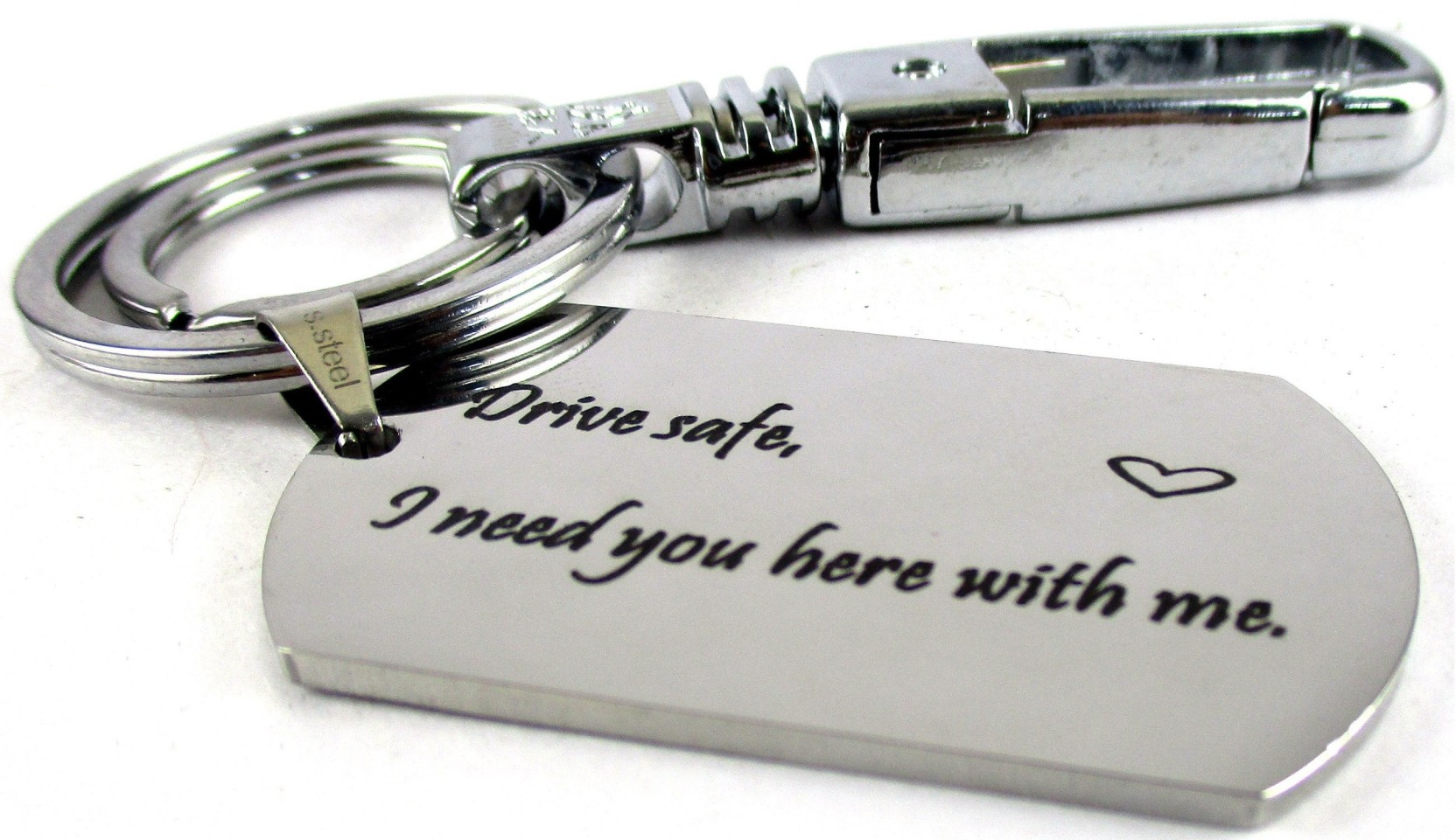 Streetsoul Drive Safe Message Engraved Keychain Stainless Steel ... 69f61aecd
