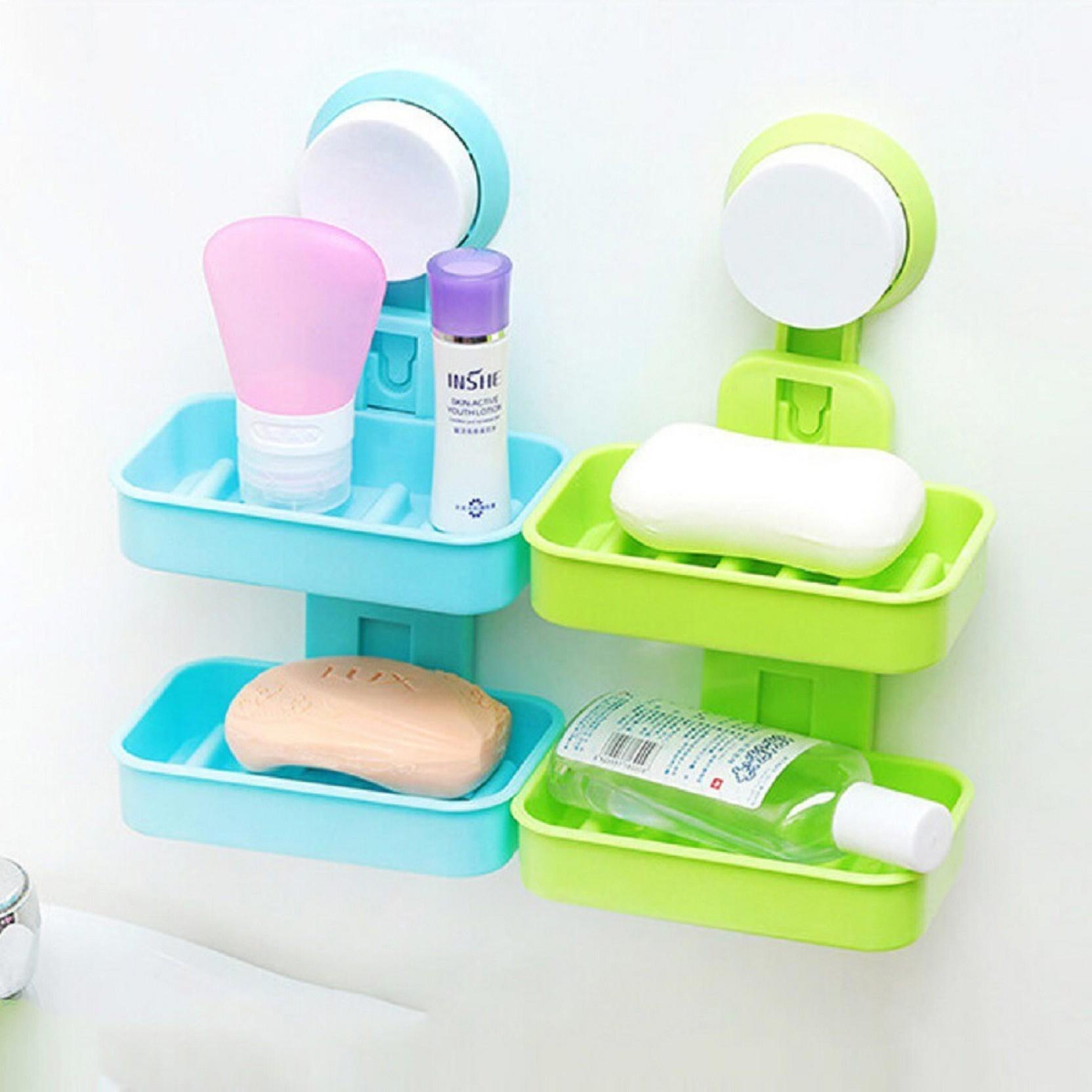 Traveling Wash Soap Dish Storage Soap Box Bathroom Case Double Soap Holder