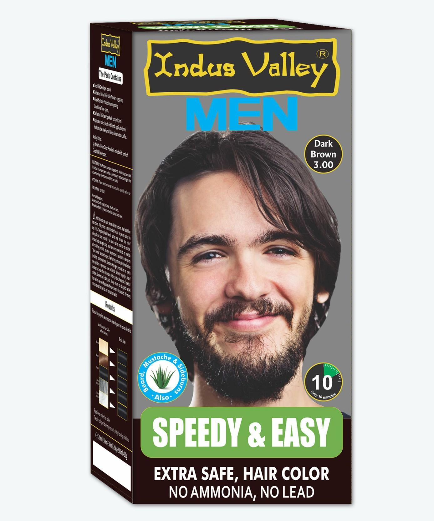 Indus Valley Speedy Easy Mens Extra Safe Dark Brown Hair Colour