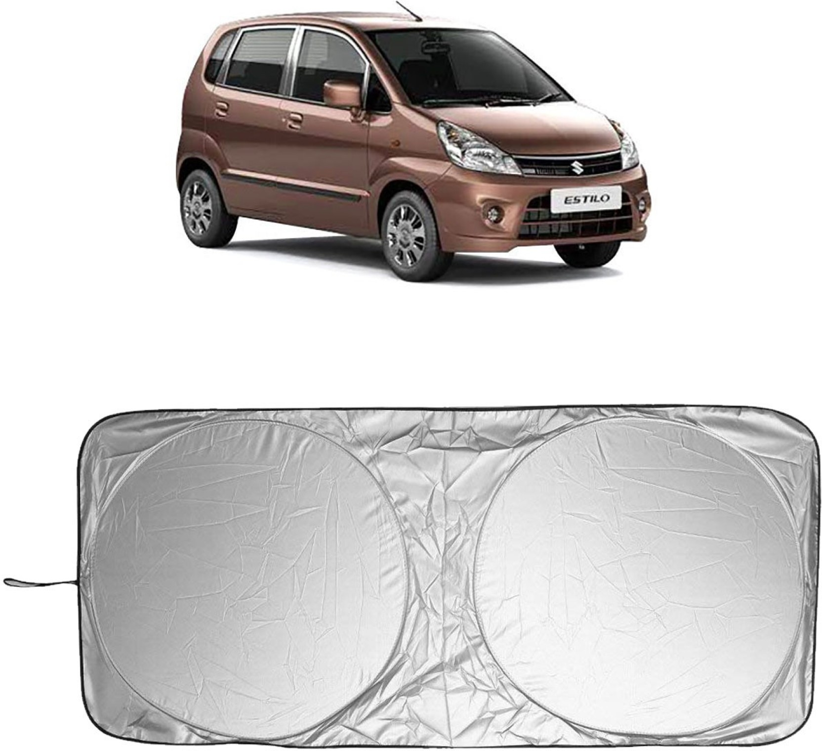 Adroitz side window rear window sun shade for maruti suzuki zen estilo silver black