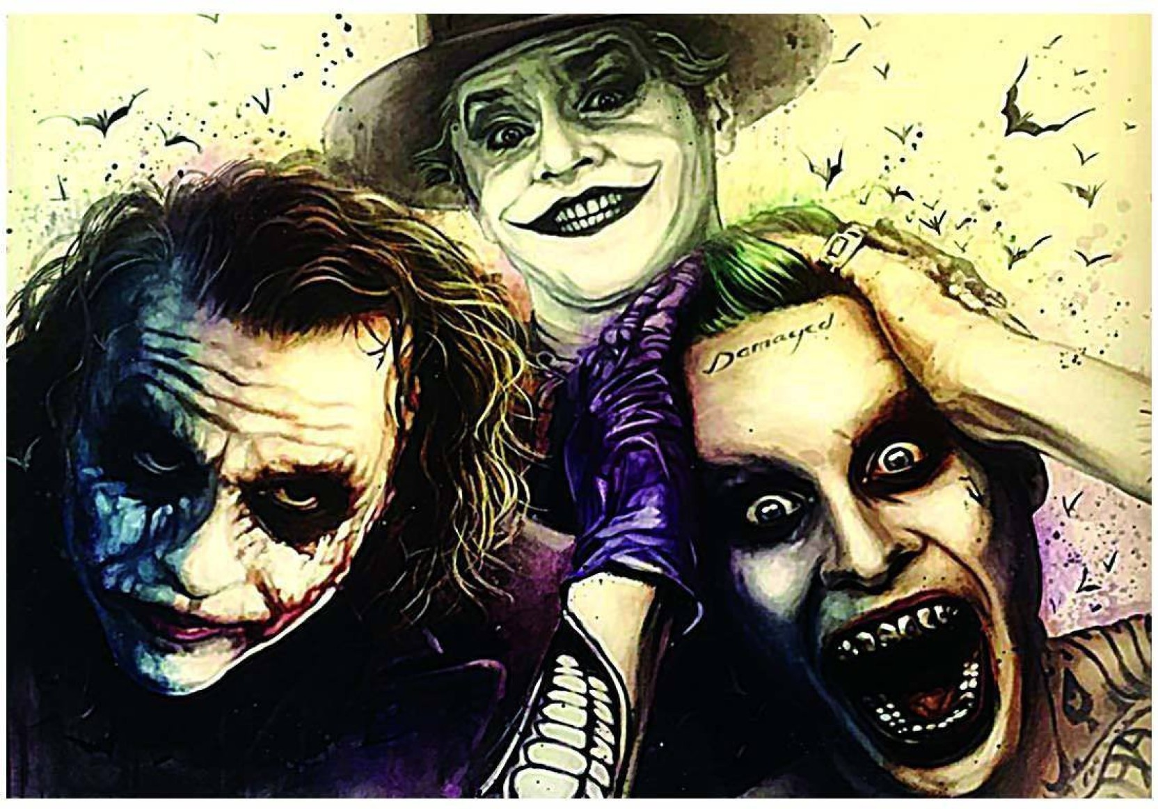 All 3 main jokers heath ledger jack nicholson and jared leto poster a3 13 x 19 inches paper print 19 inch x 13 inch rolled