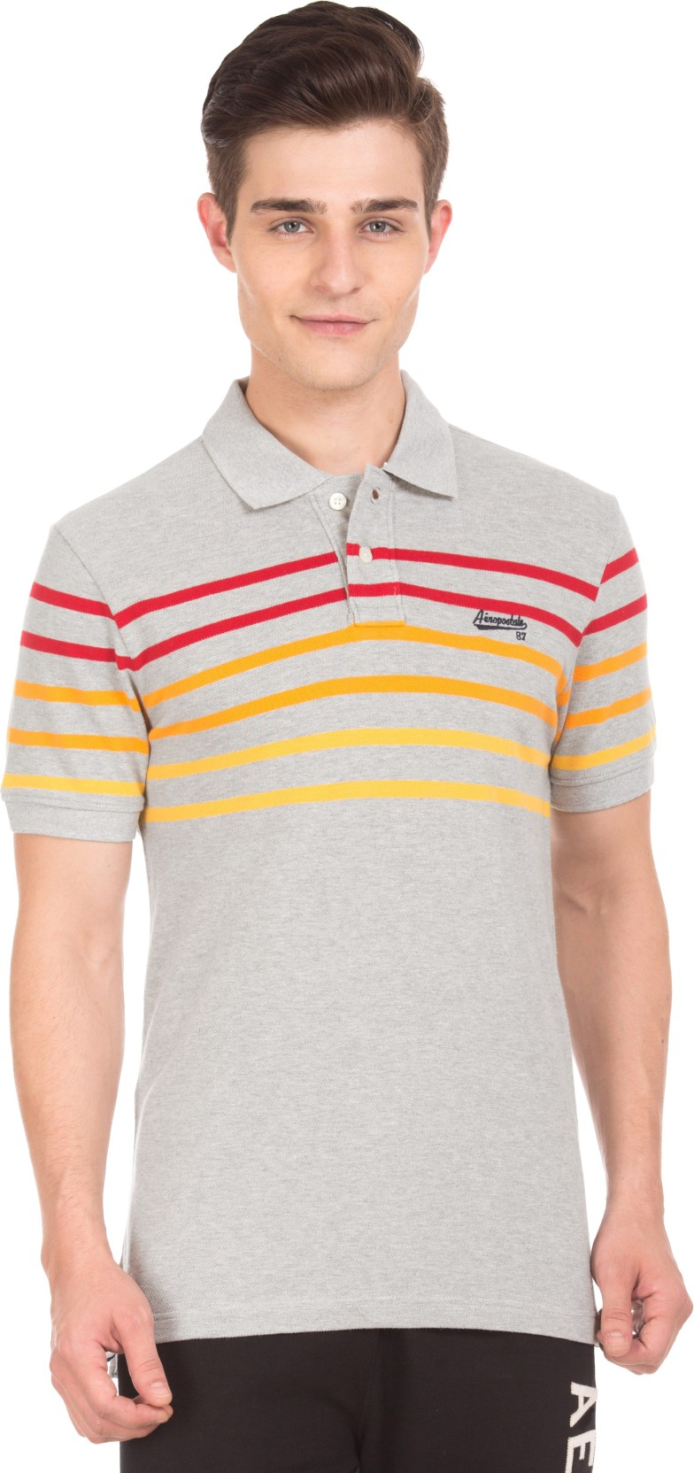 2b9439c8 Aeropostale Striped Men Polo Neck Grey T-Shirt - Buy Aeropostale ...