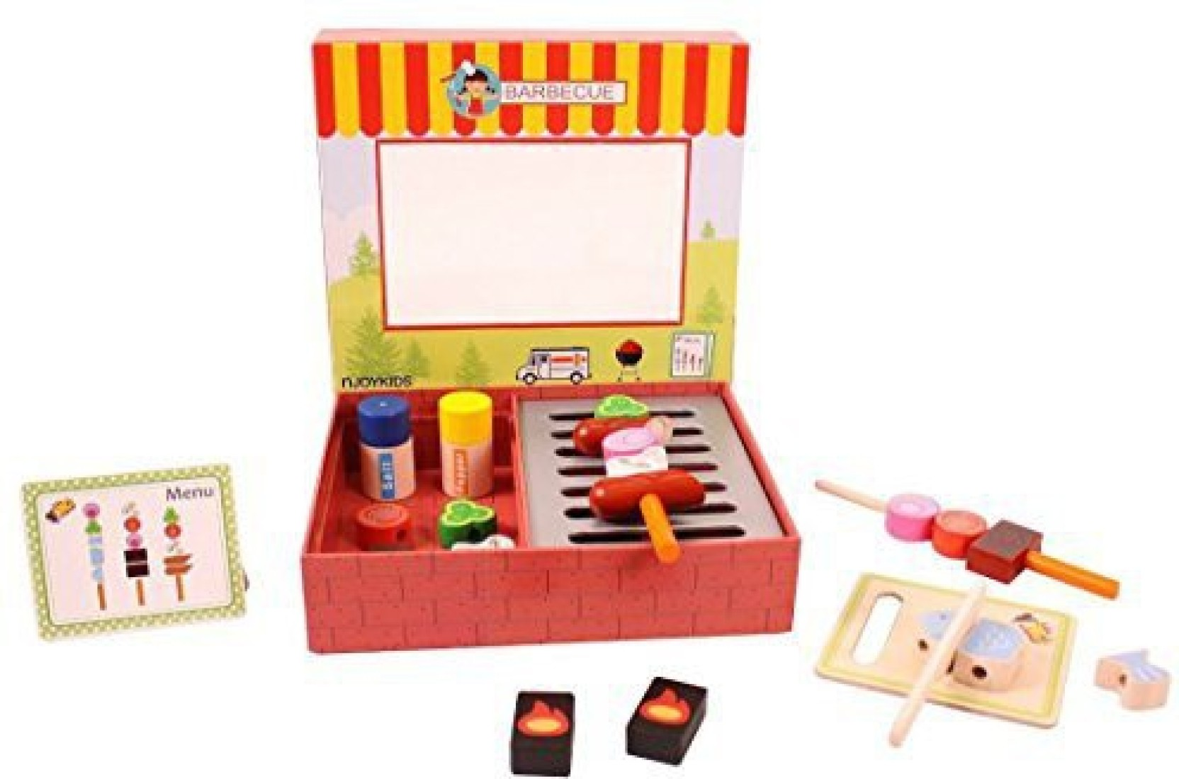 njoykids barbeque (bbq) grill pretend play wooden toy set