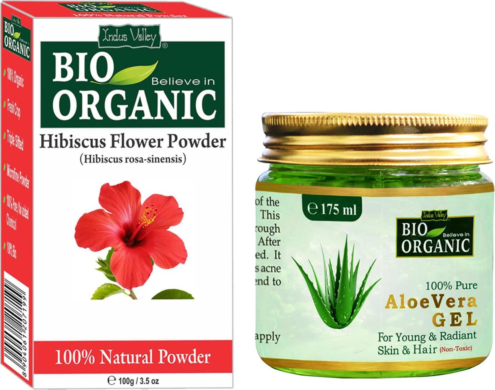 Indus valley bio organic aloe vera gel and hibiscus powder for split on offer izmirmasajfo