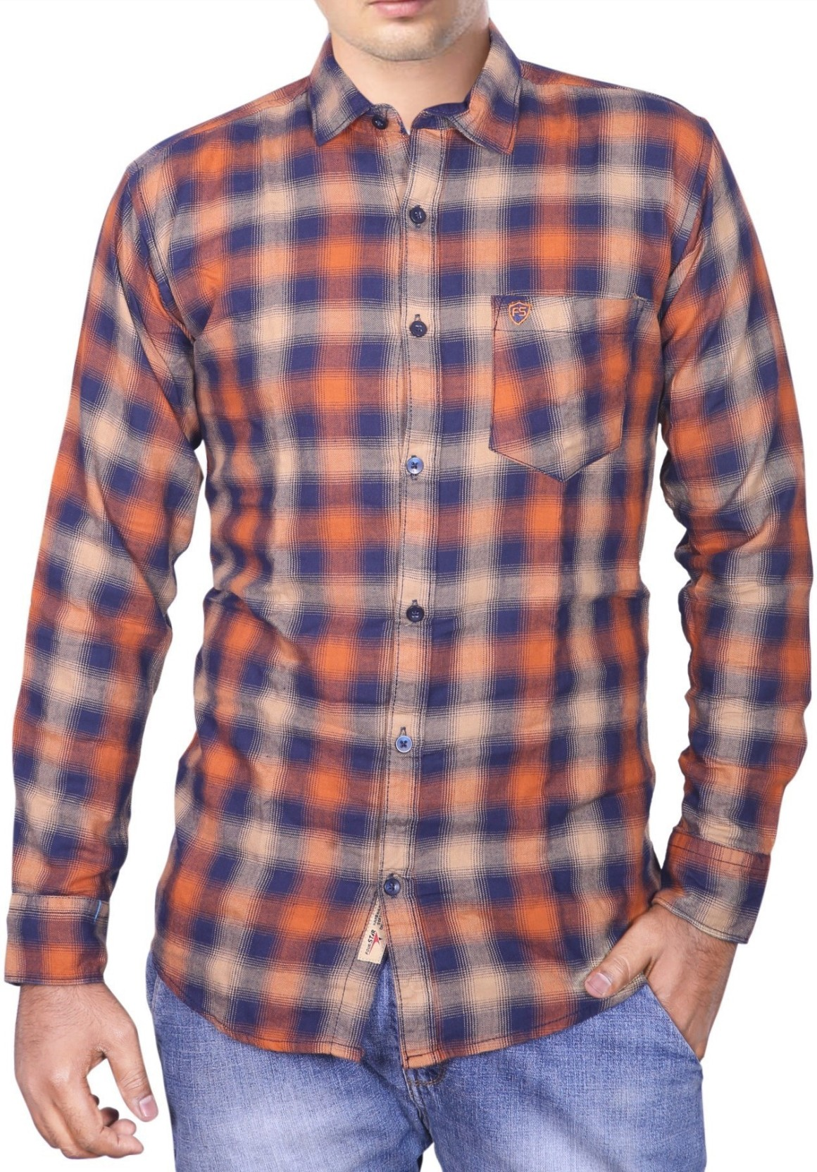 d5b65650f458 Four Star Men Checkered Casual Orange