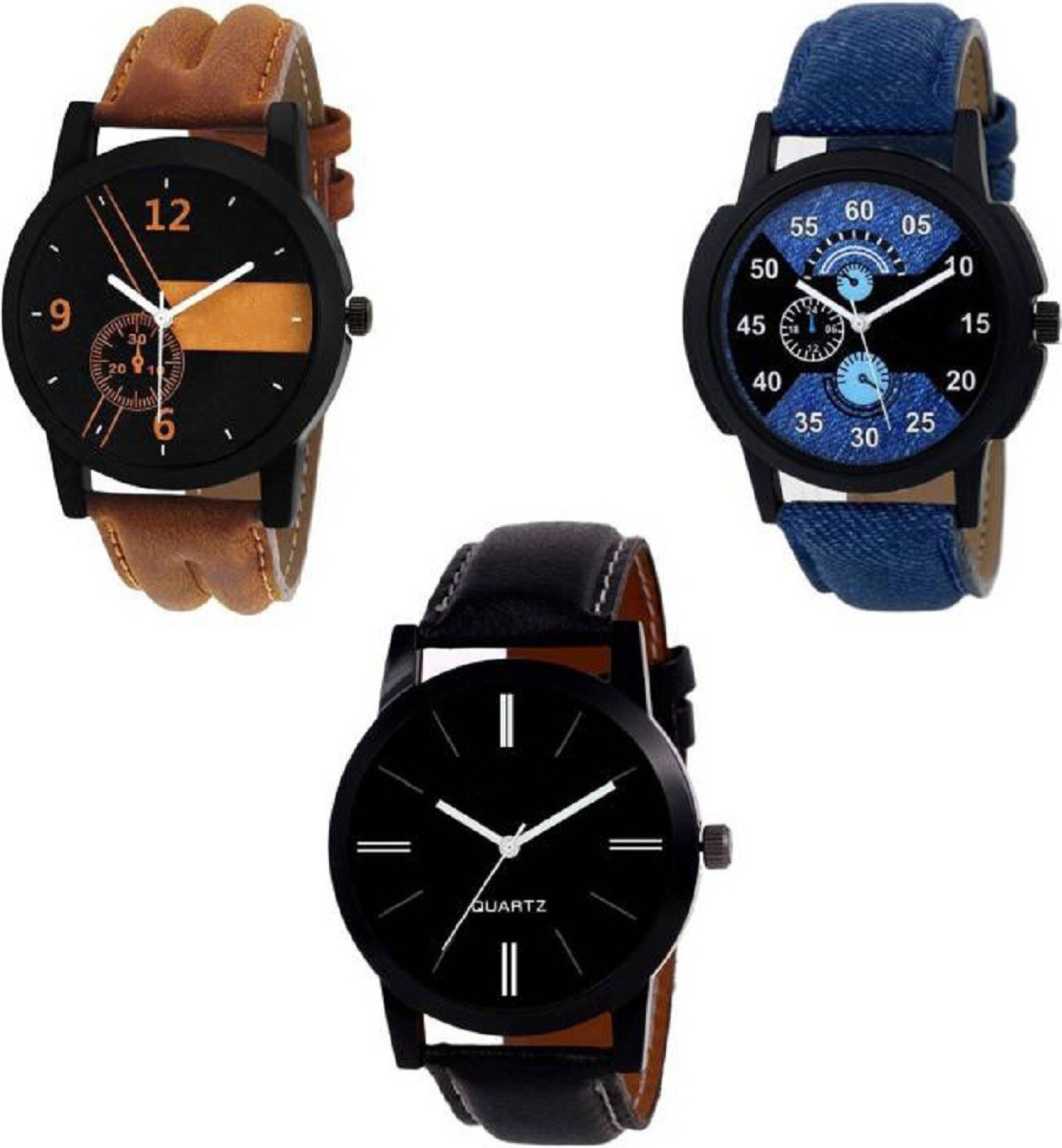 f09dd6c7d Lifetime 3 set combo best analog combo watch for boys leather belt watches  for men wrist watch unique stylish watch boy watches in low price ...