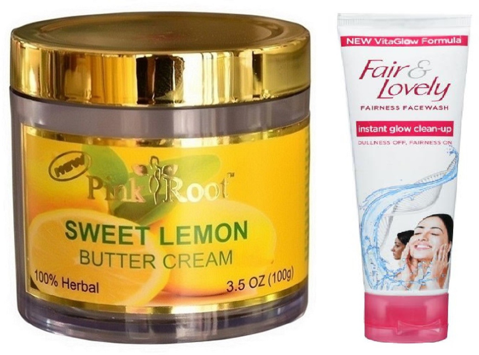 Pink Root Sweet Lemon Cream 100g With Fair Lovely Instant Glow Facial Foam .