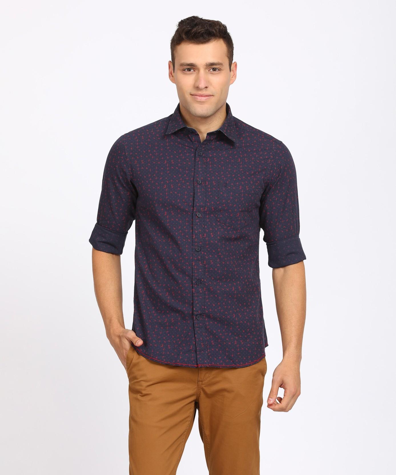 Izod Men Printed Casual Dark Blue Shirt Buy Izod Men Printed