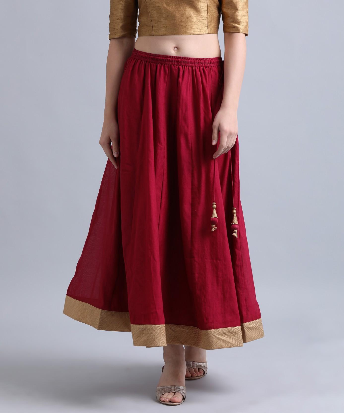 2a9515b6e2b4 Biba Solid Women's Flared Maroon Skirt - Buy BURGUNDY Biba Solid ...