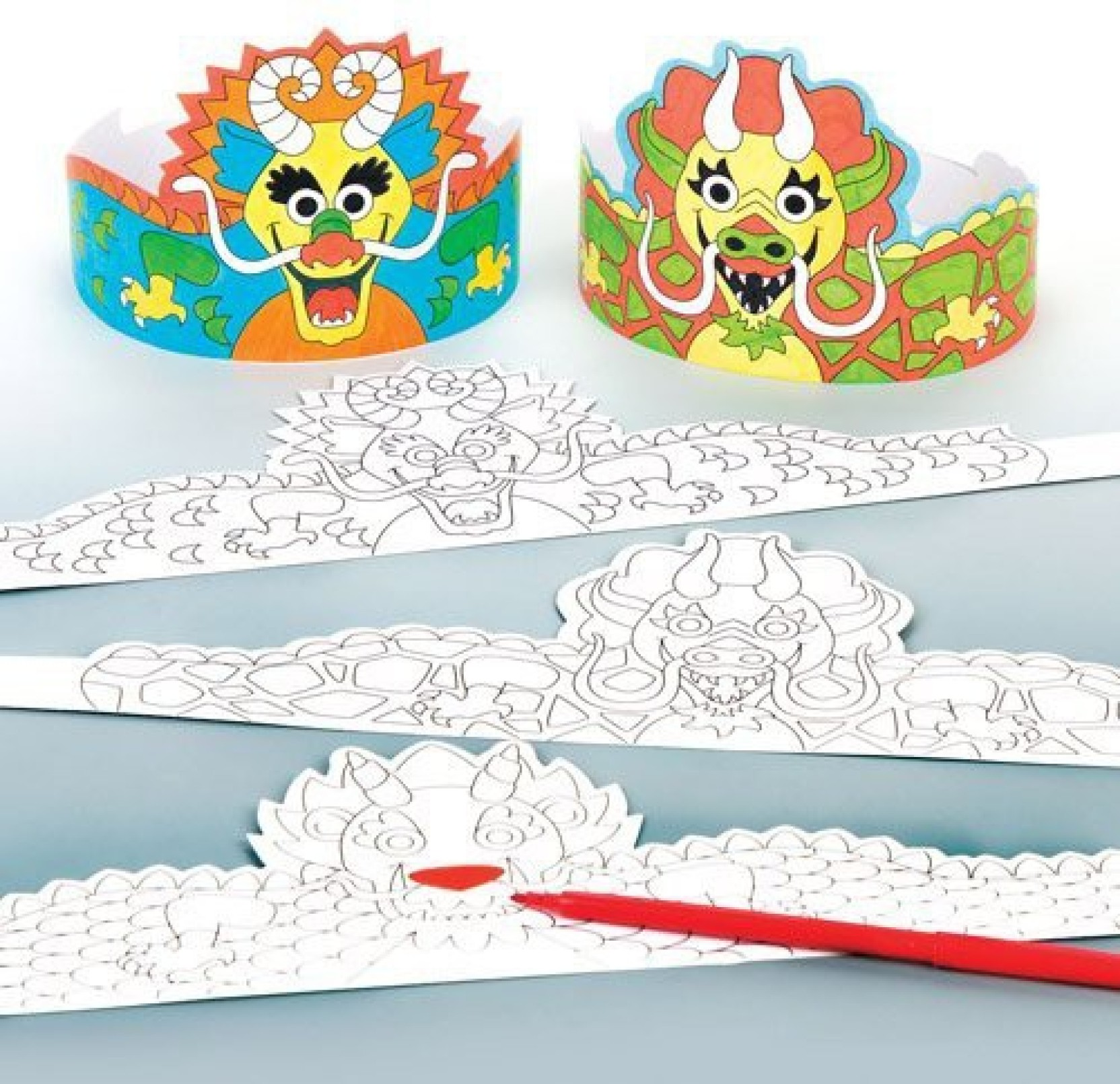 d48999d12ec Baker Ross Chinese Dragon Colour-in Crowns For Kids Perfect For  Children39 s Arts. ON OFFER