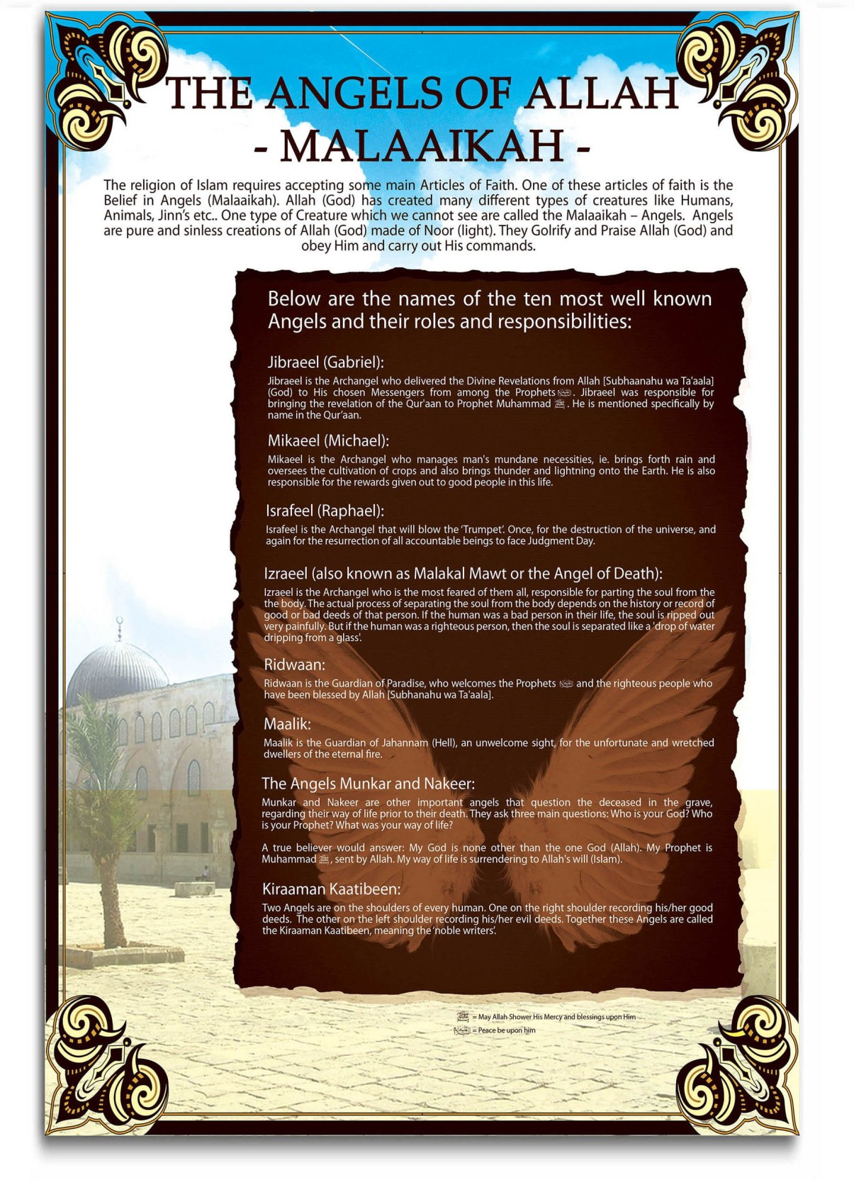 Islamic Wall Poster - Angels of Allah - Large Size Poster