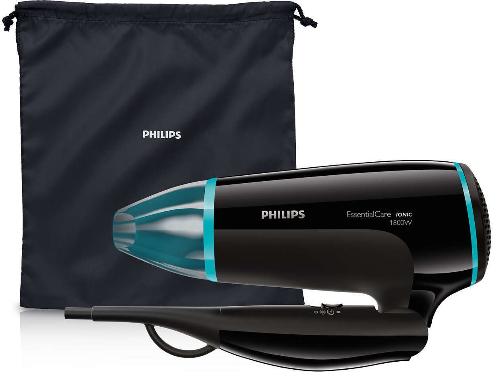 Philips essential care foldable hair dryer powerful drying with ionic  technology (limited edition) Hair Dryer (Black) d959e1da55