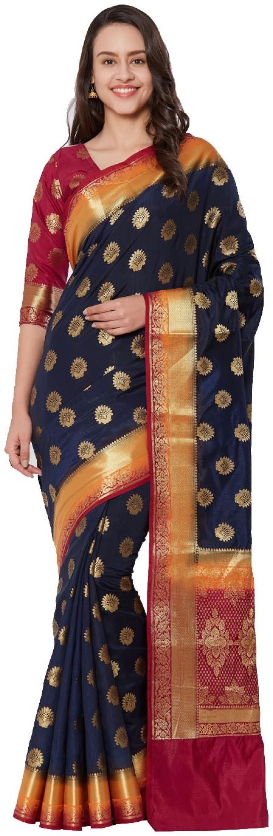 14881517f1db57 Buy Viva N Diva Woven Banarasi Banarasi Silk Blue Sarees Online ...