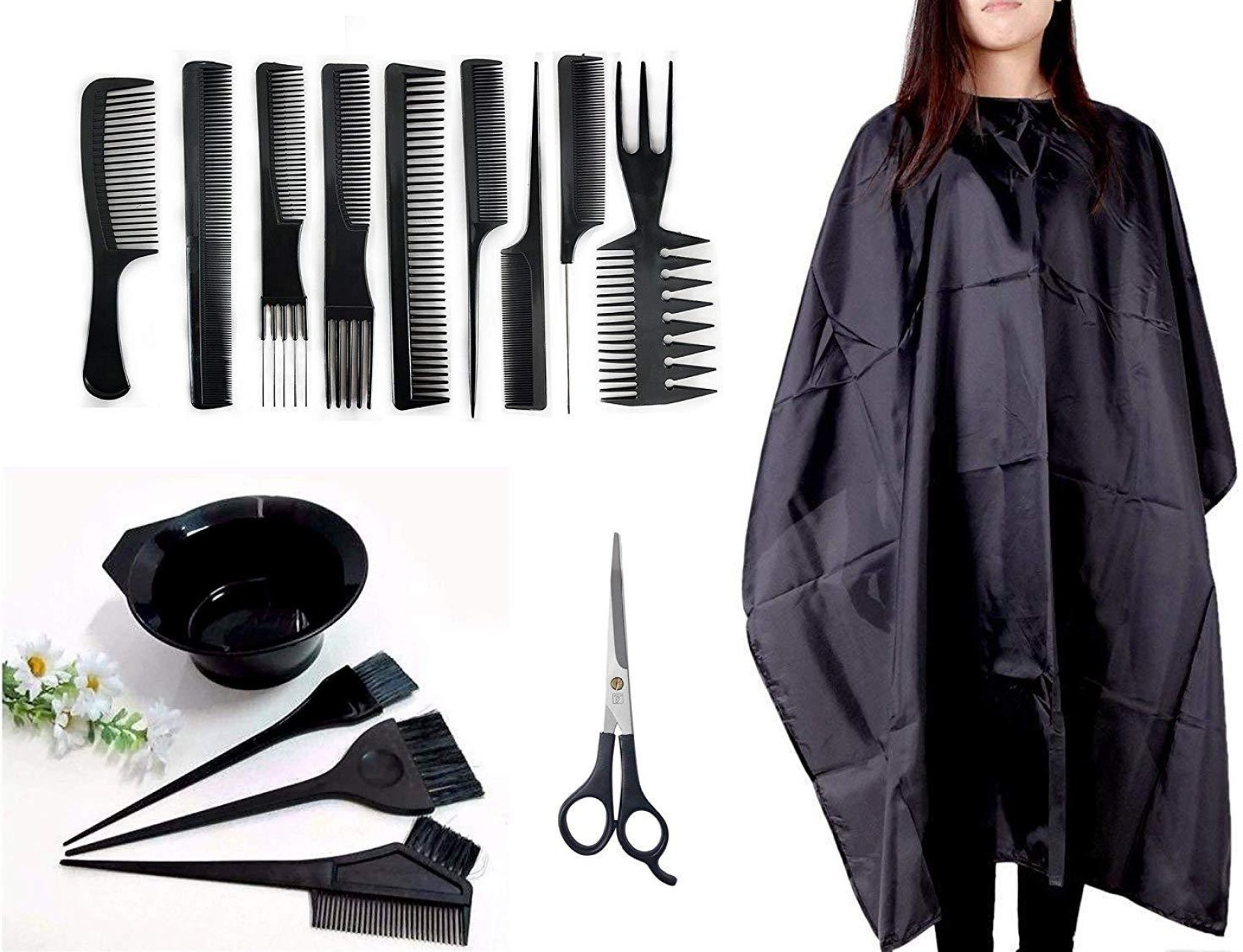 AASA Salon Accessories Combo for Hairdressing, hair Cutting Comb, Scissor,  Dye Bowls kit, 9 Pcs comb Set Professional Use