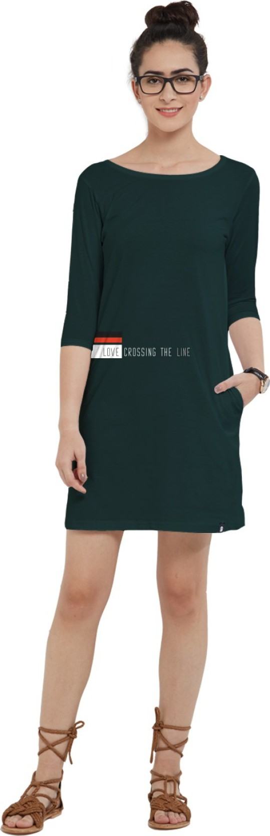 d1a73e0c438 The Souled Store. Women T Shirt Dark Green Dress - Buy The Souled ...