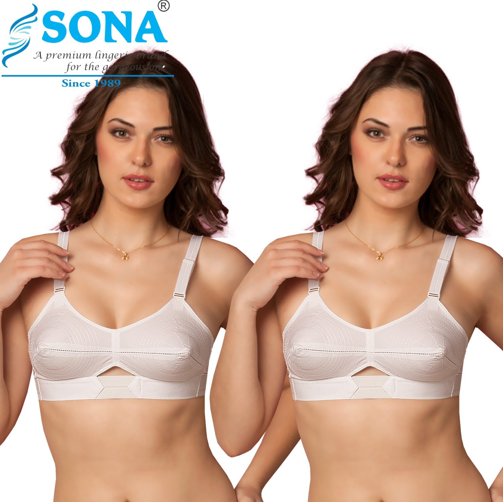 581cb6e0c5e Sona Moving Elastic Strap Full Cup Plus Size Cotton Bra (Pack of 2) Women s  Full Coverage Non Padded Bra (Multicolor)