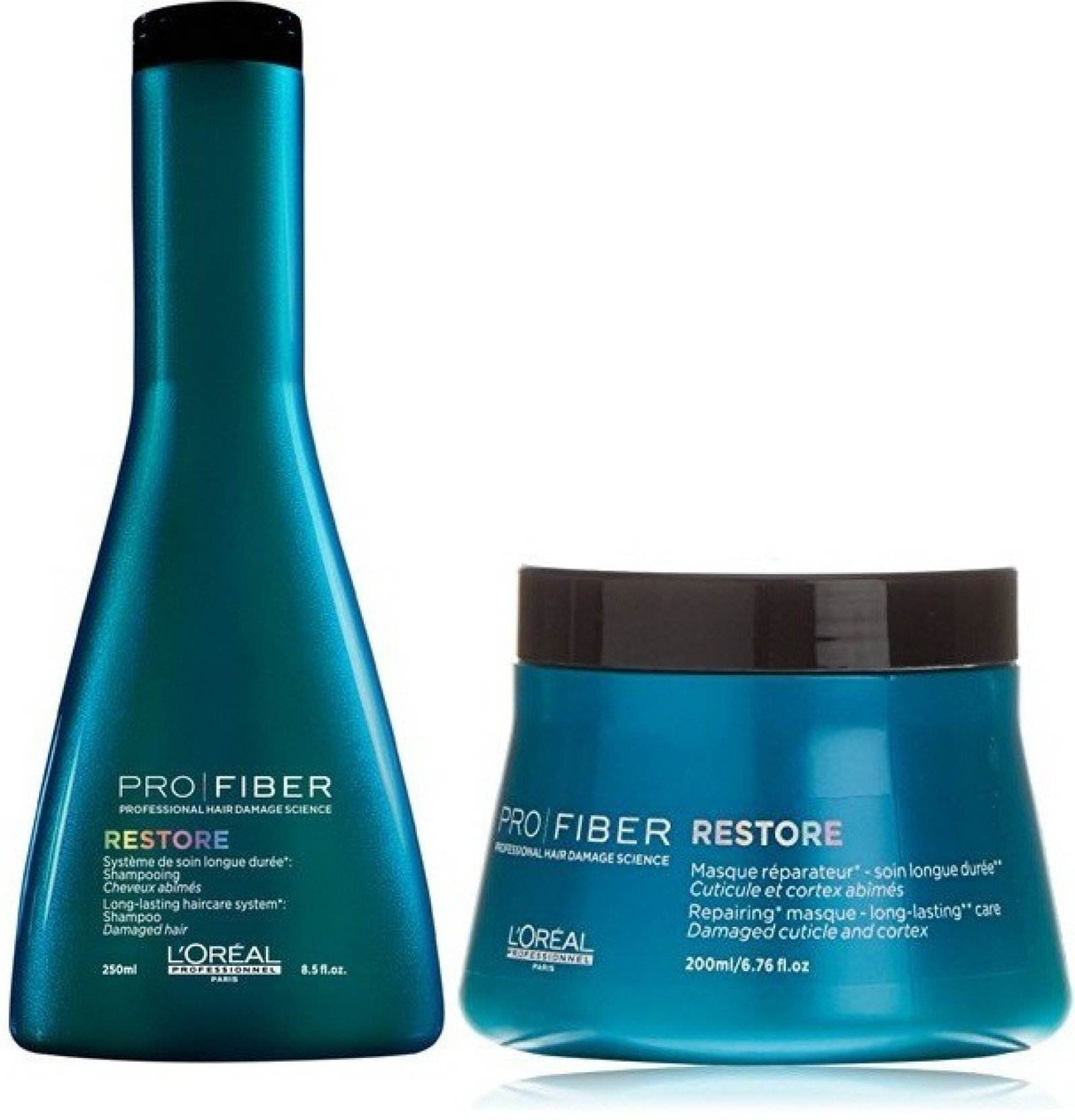 9d0581b45 L Oreal Professionnel Pro Fiber Restore Shampoo 250ml and masque 200ml  combo (Set of 2)