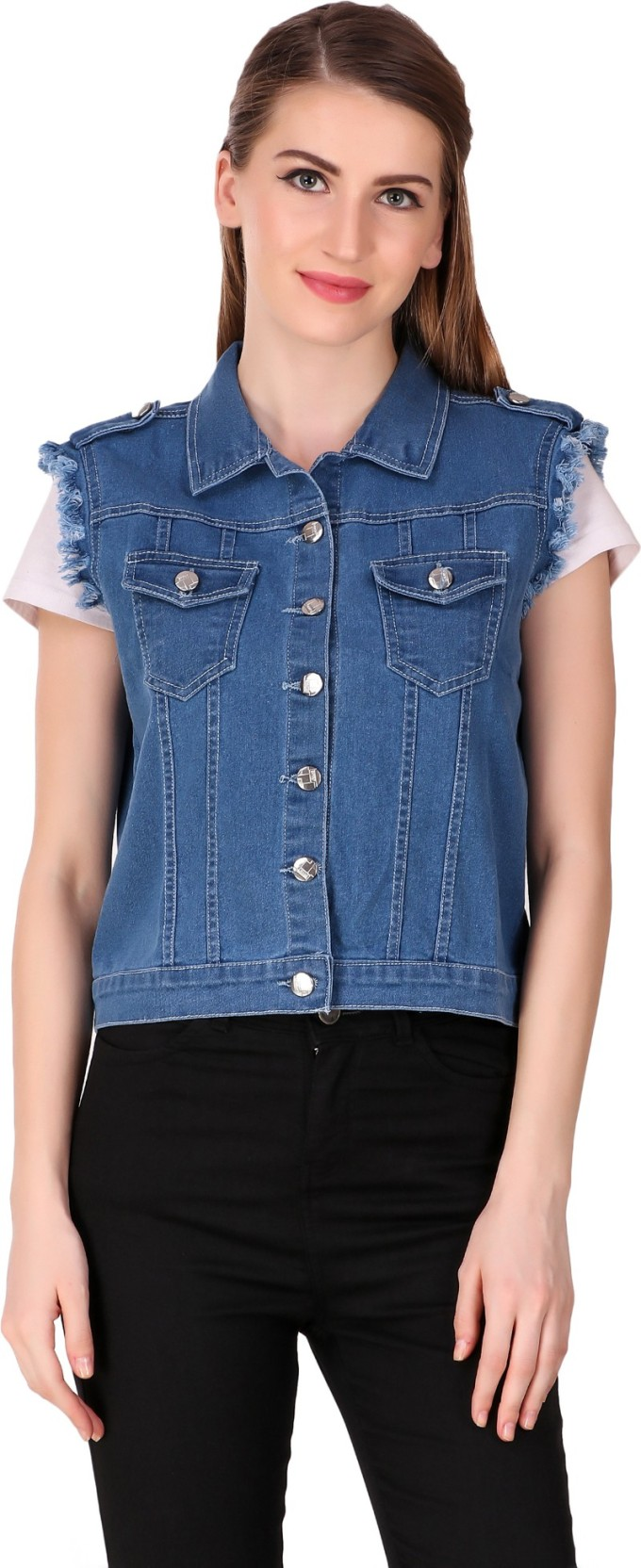 97b4cd1d594 Girls Shopping Sleeveless Solid Women Denim Jacket - Buy Girls ...