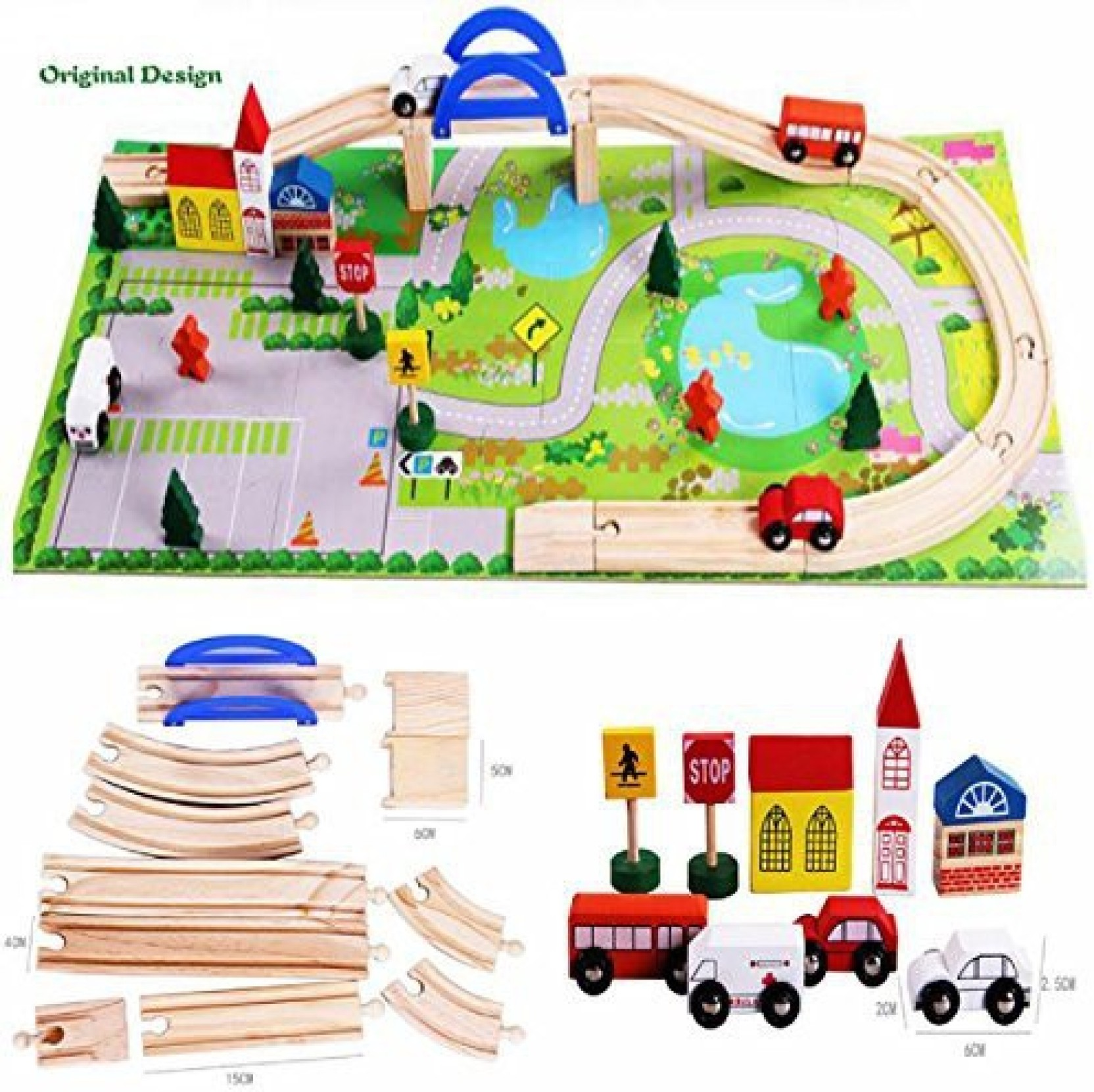 aodicon 40pcs/set diy wooden toys railroad railway wooden