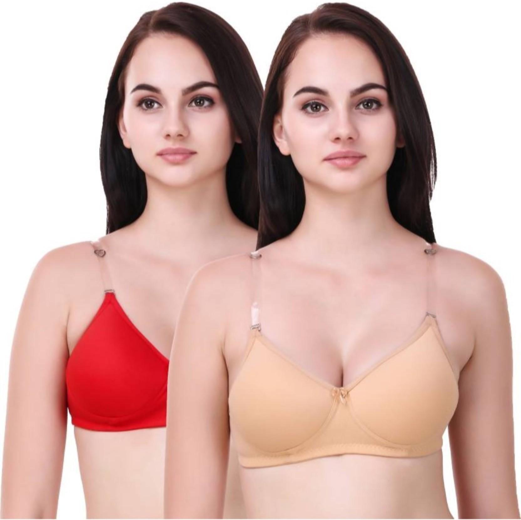 ae58356ed0 Apraa byApraa   Parma transparent strap bra Women Full Coverage Lightly  Padded Bra (Red)