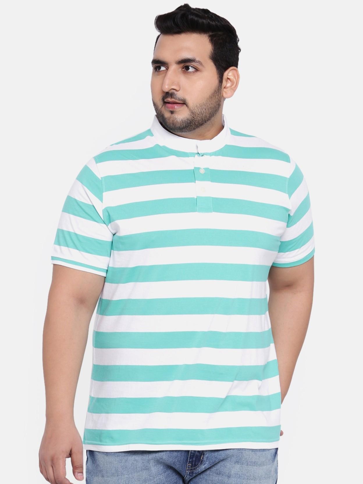 65d3a89d0 aLL Striped Men Mandarin Collar Light Green T-Shirt - Buy aLL ...