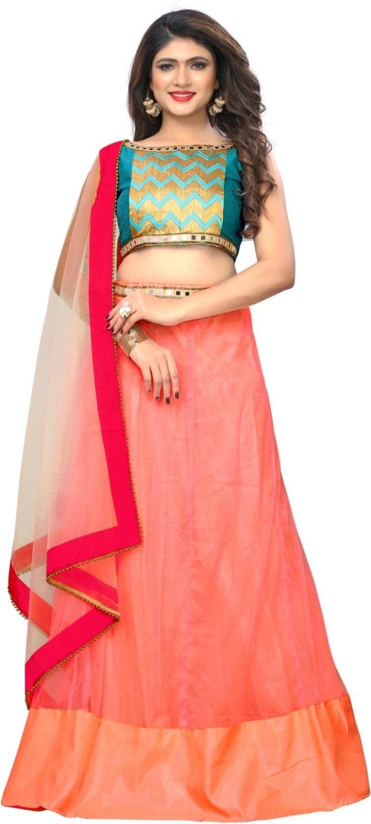7c957c8c4b0baa Greenvilla Designs Embellished Semi Stitched Ghagra, Choli, Dupatta Set  (Pink)