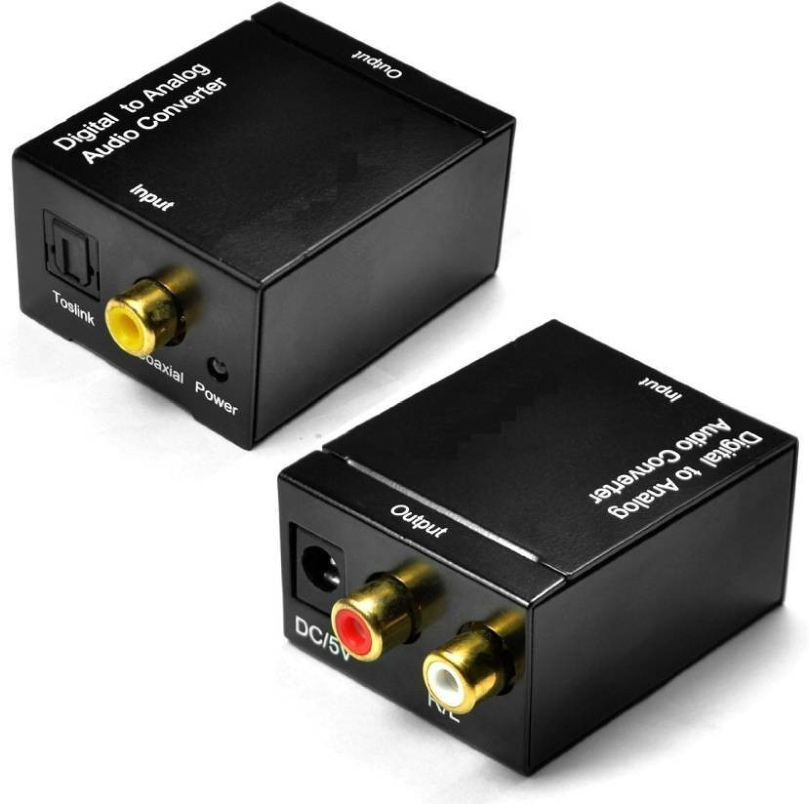 Digital Coaxial Optical to Analog Audio Converter Adapter RCA R//L 3.5mm Jack out