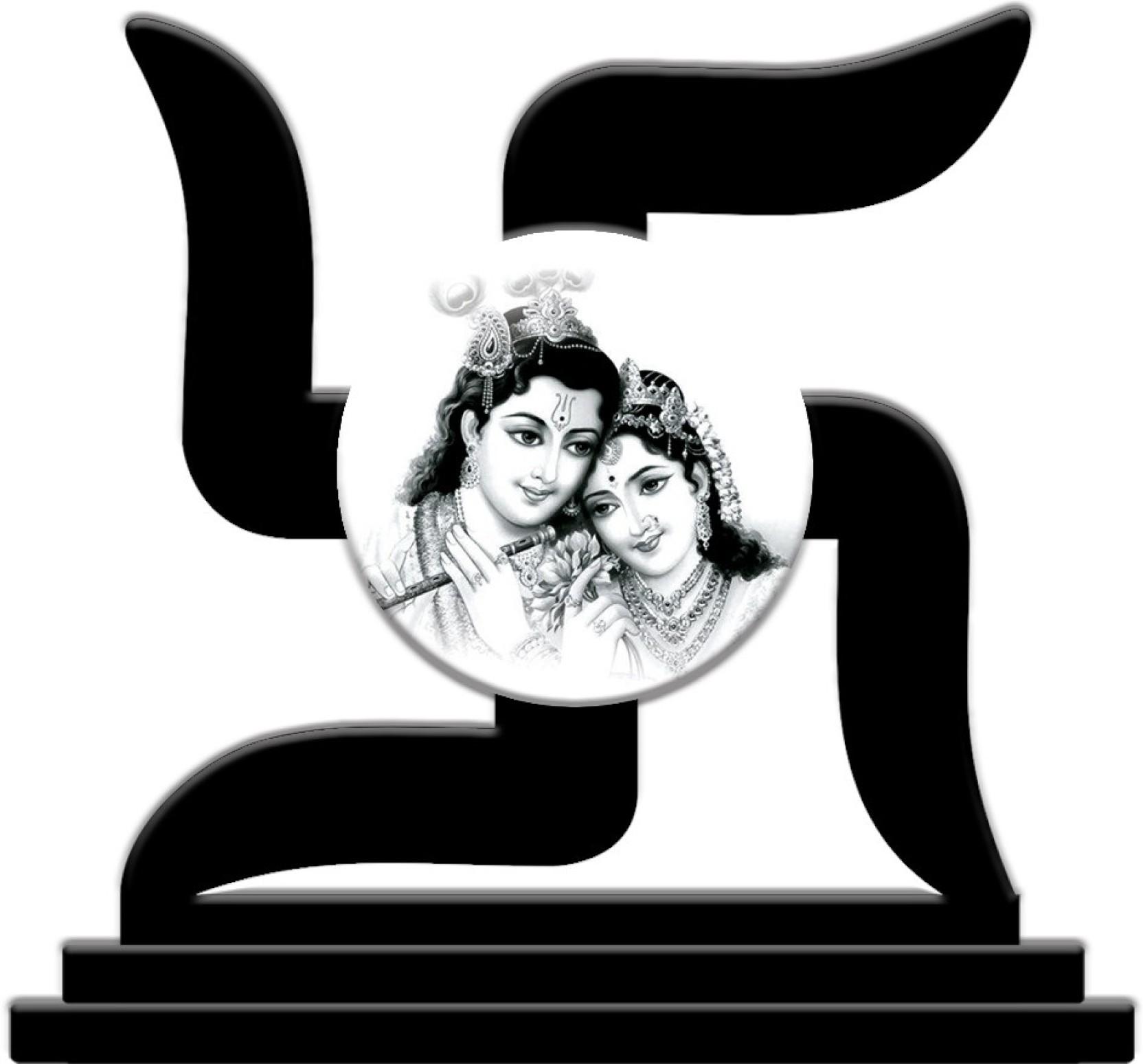Crazyink radha krishna black n white decorative showpiece